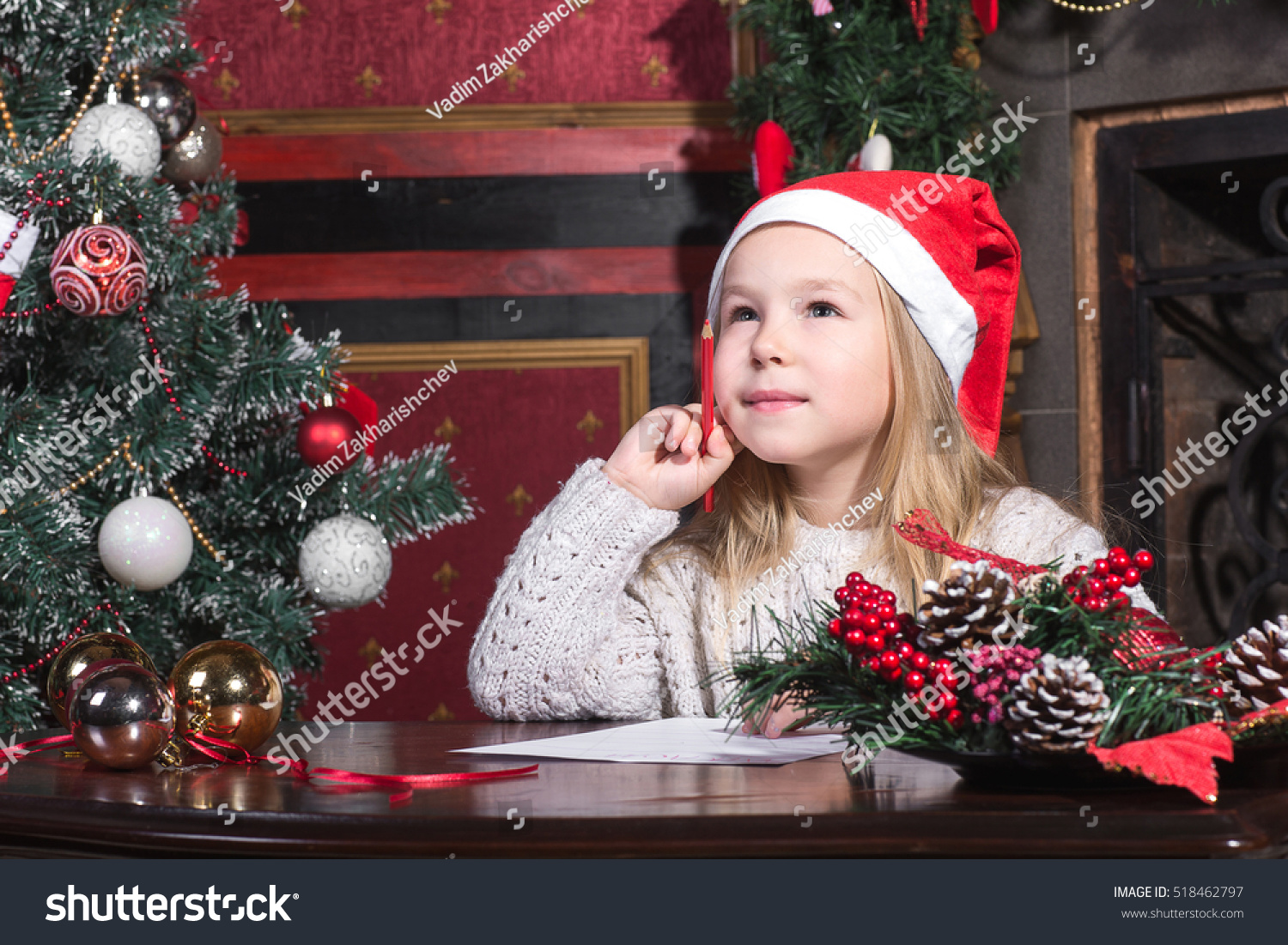 Christmas Child Write Letter Santa Claus Stock Photo Royalty Free