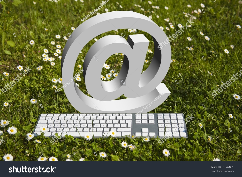 Internet at sign modern keyboard on stock photo 51847861 internet at sign and modern keyboard on green grass in garden buycottarizona