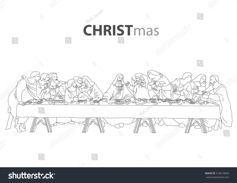 Jesus Christ Last Supper Sketch Drawing Stock Vector