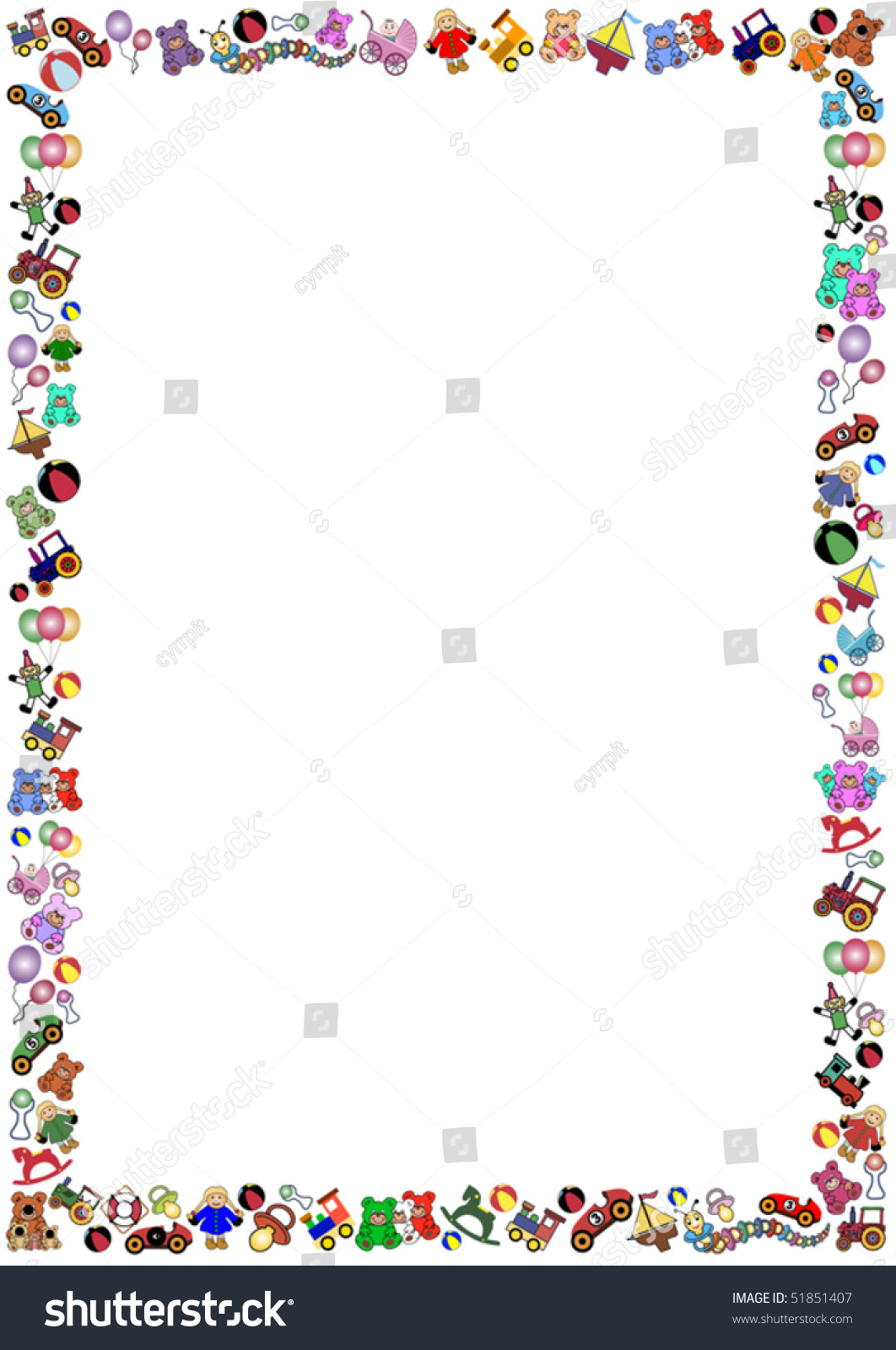 Little Boys Toys Border : Border out many little colorful toys stock vector