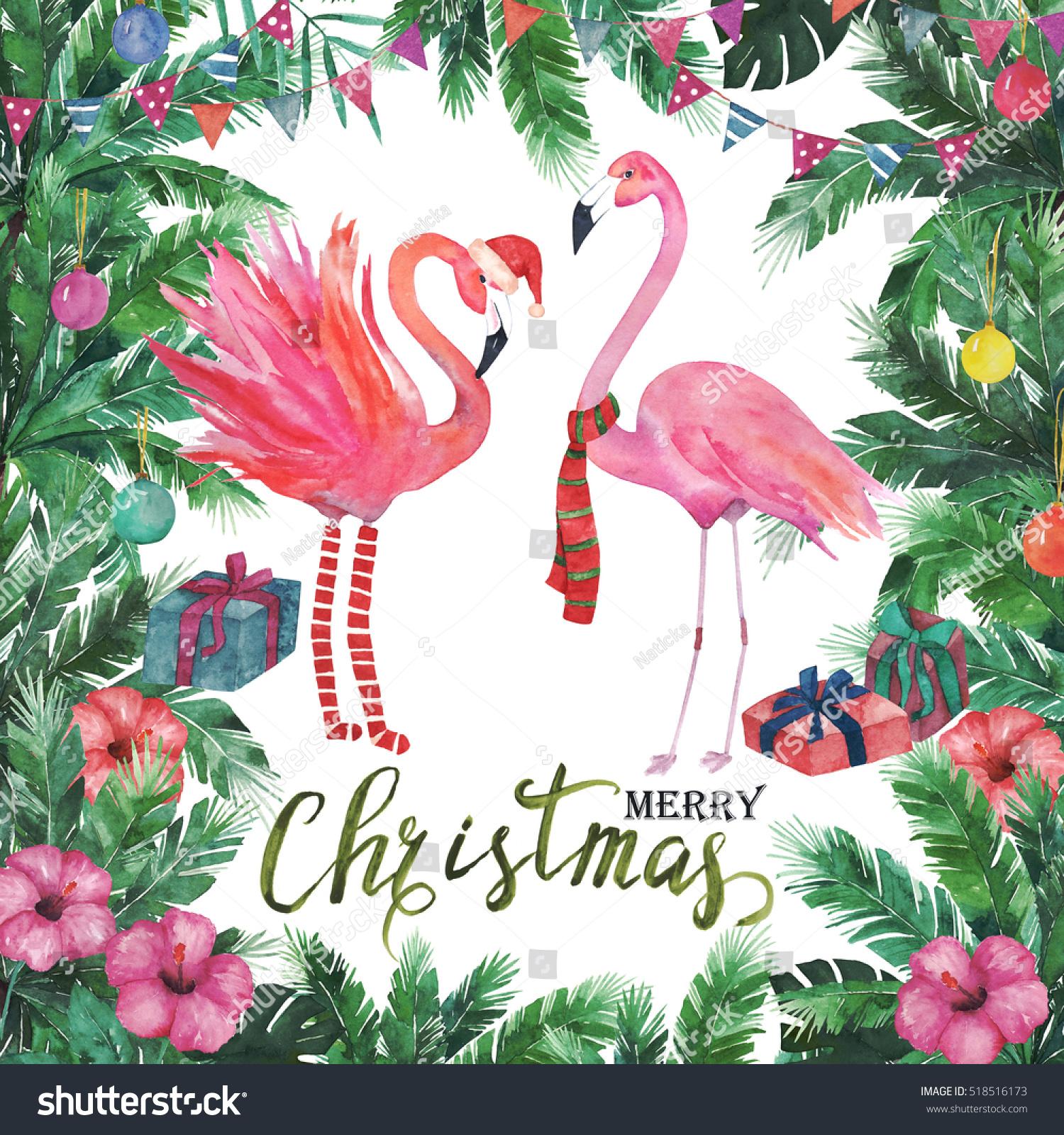 christmas tropical frame watercolor palm tree flamingo - Flamingo Christmas
