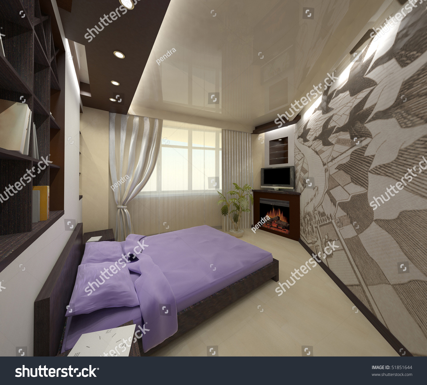 3d Simulation Of A Cozy Bedroom In Bright Colors Stock