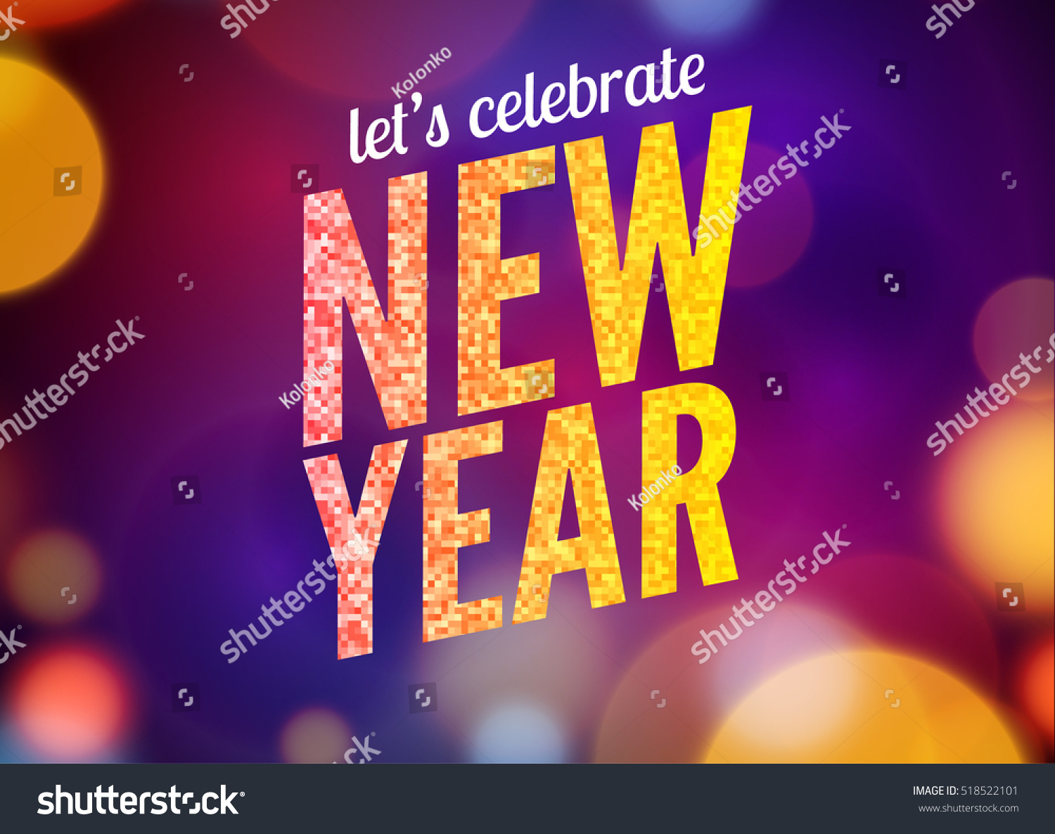 lets celebrate new year party design flyer template with multicolored bokeh lights background holiday festive