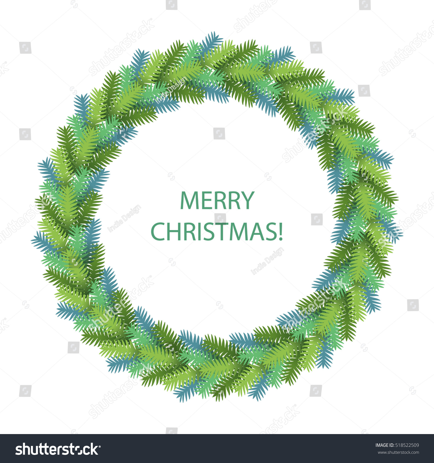Green Christmas Wreath Isolated On White Stock Vector (Royalty Free ...