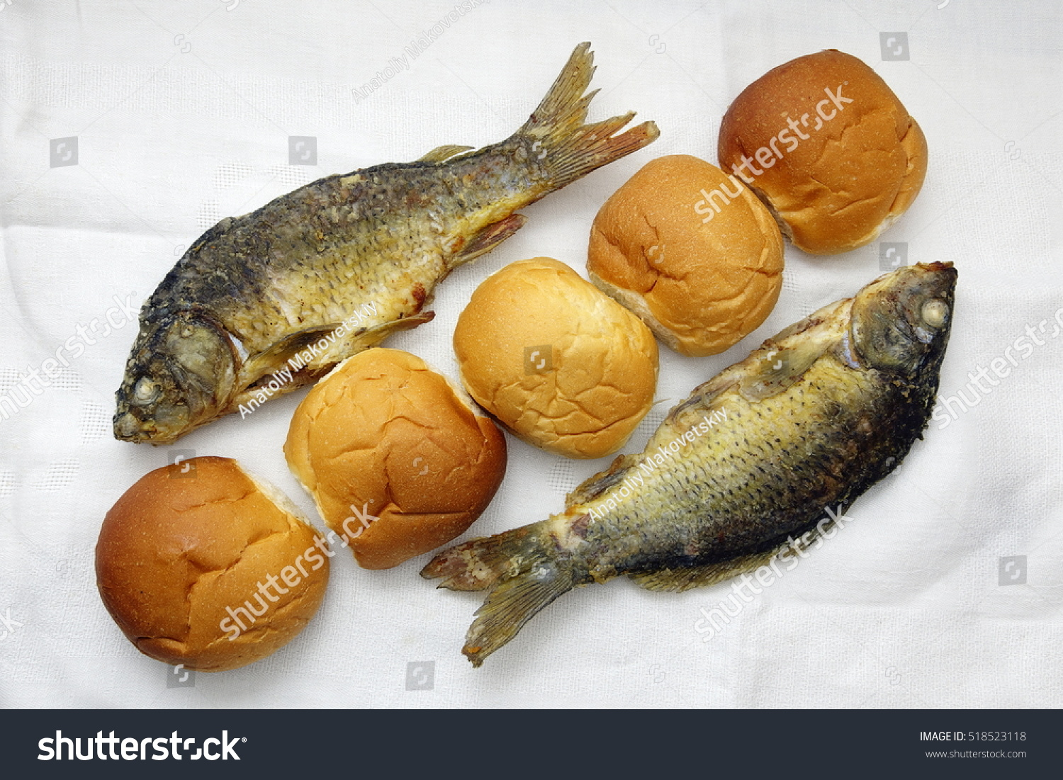 Five loaves two fishes stock photo 518523118 shutterstock for Loaves fishes