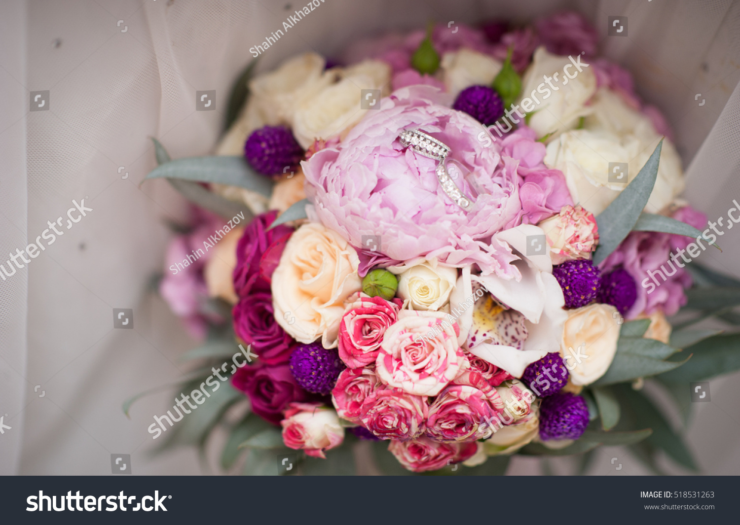 Bouquet Of The White And Pink Peonies Flowers Wedding Bride