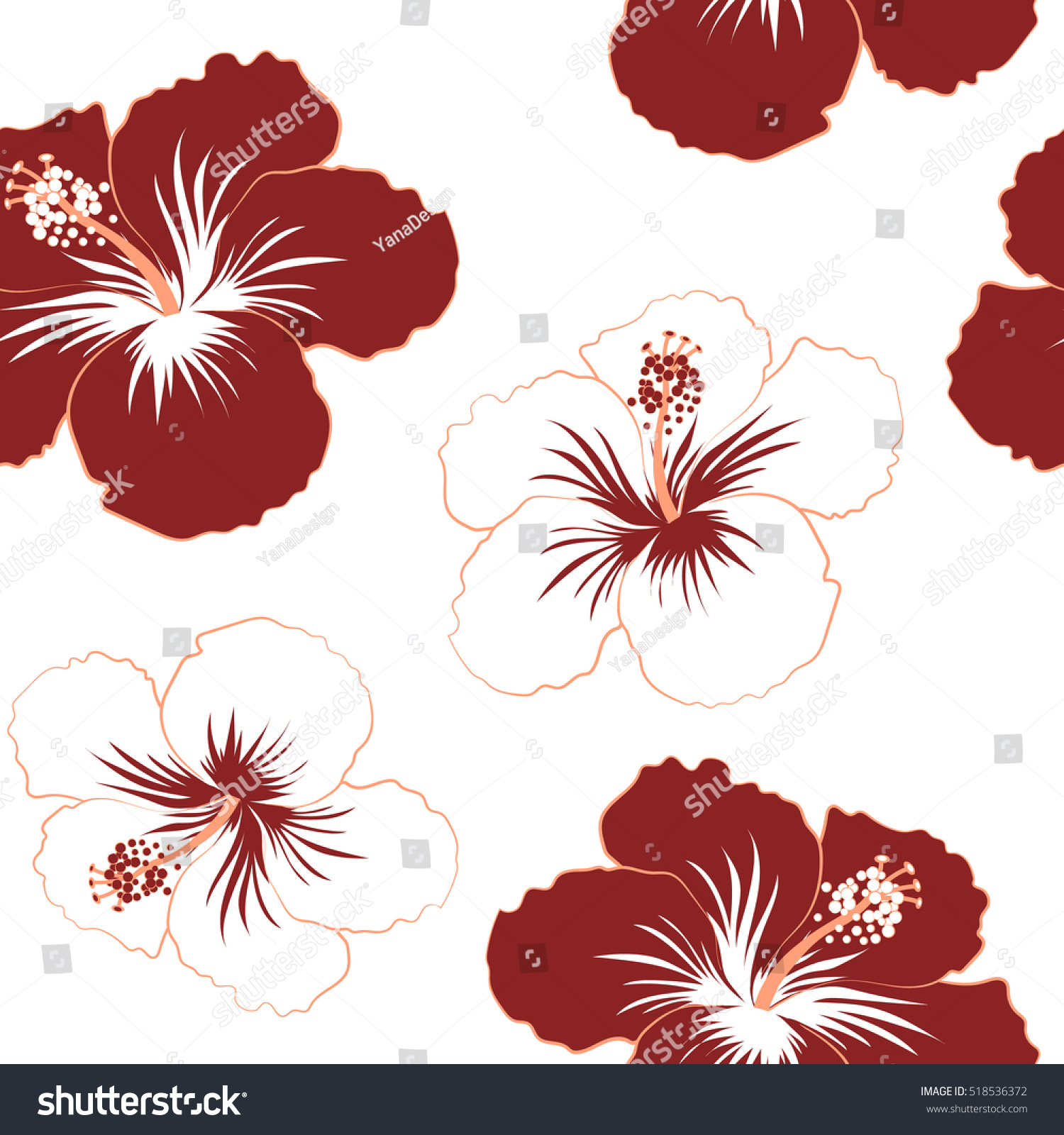 Hibiscus Flowers Red Colors Watercolor Painting Stock Vector (2018 ...