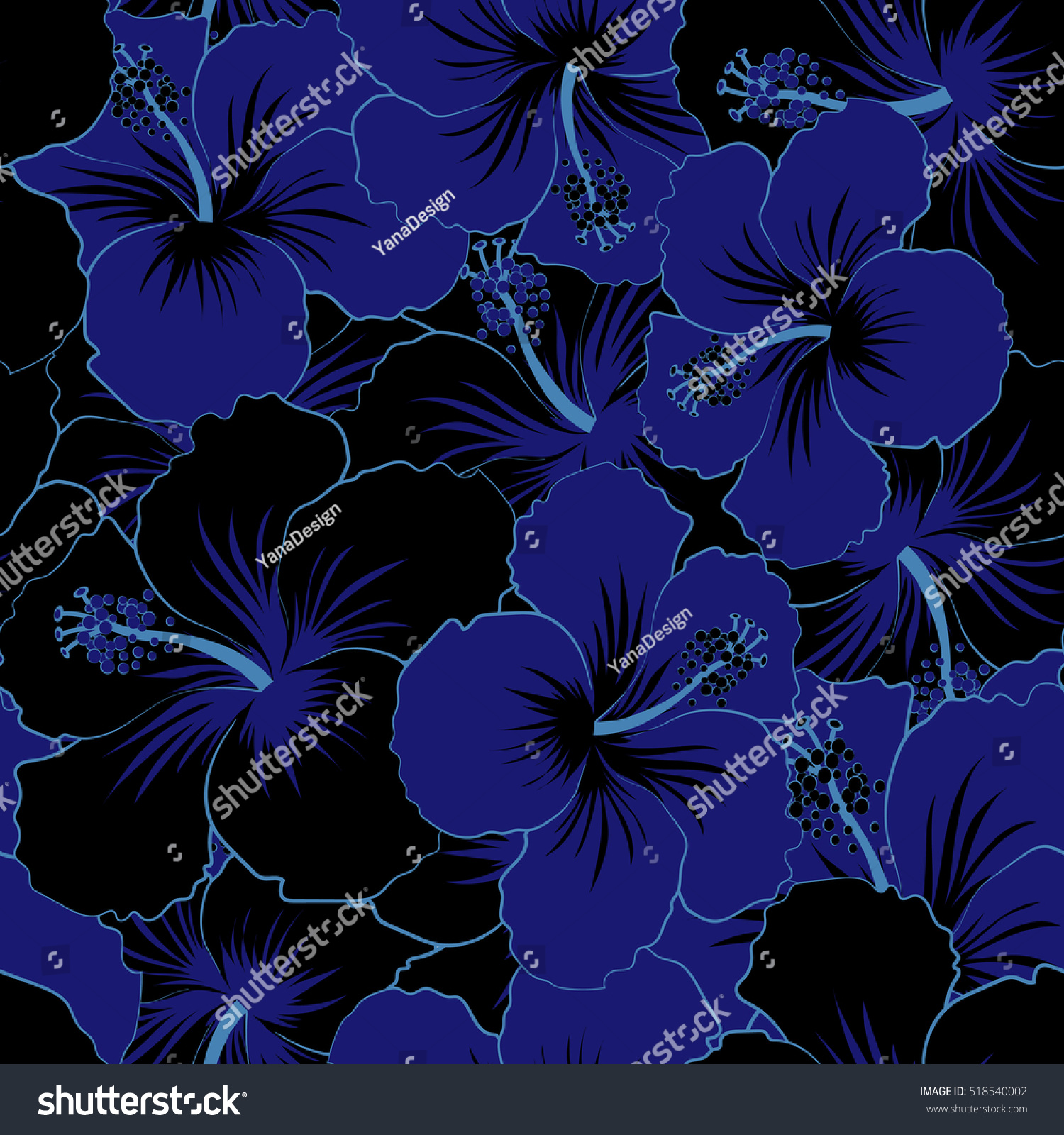 Vector Hibiscus Flower Seamless Pattern In Black And Violet Colors