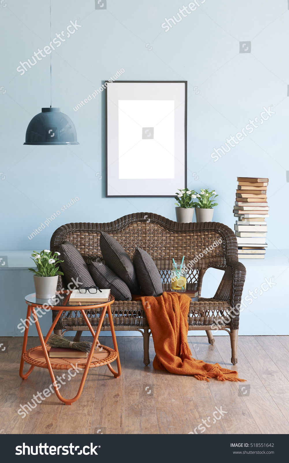 Blue wall interior concept and wicker furniture ez canvas