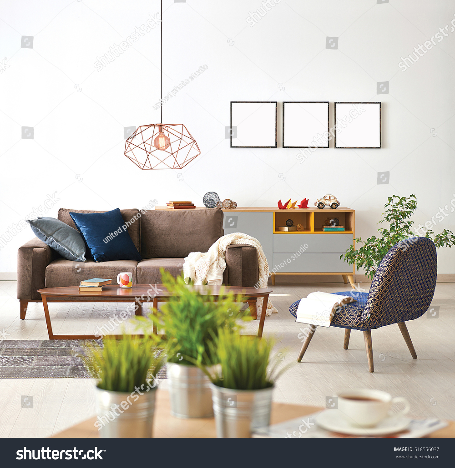 Modern Living Room Sofa Armchair Vase Stock Photo (Download Now ...