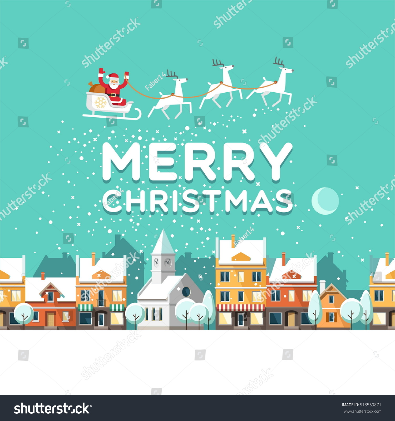 Snowy street urban winter landscape santa stock vector for Christmas landscape images
