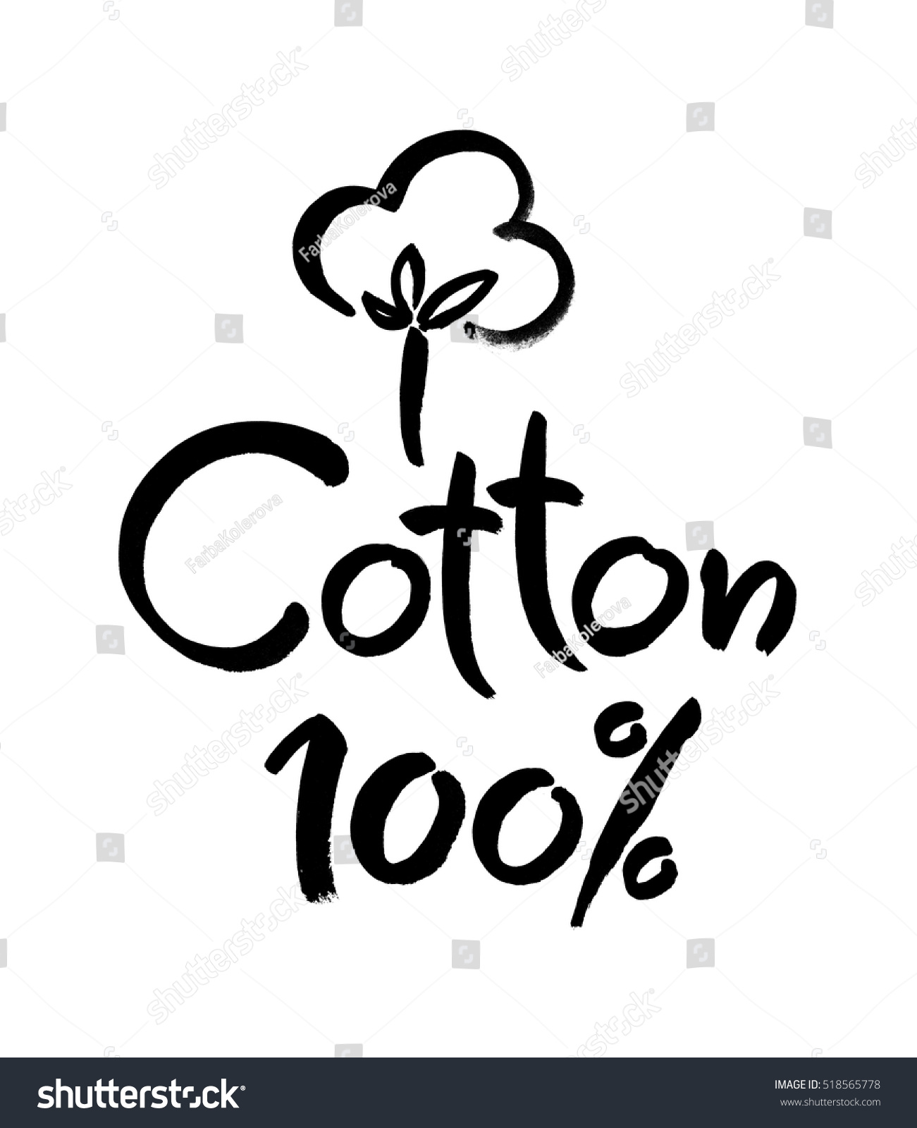 Natural Organic Cotton Vector Label Sticker Stock Vector