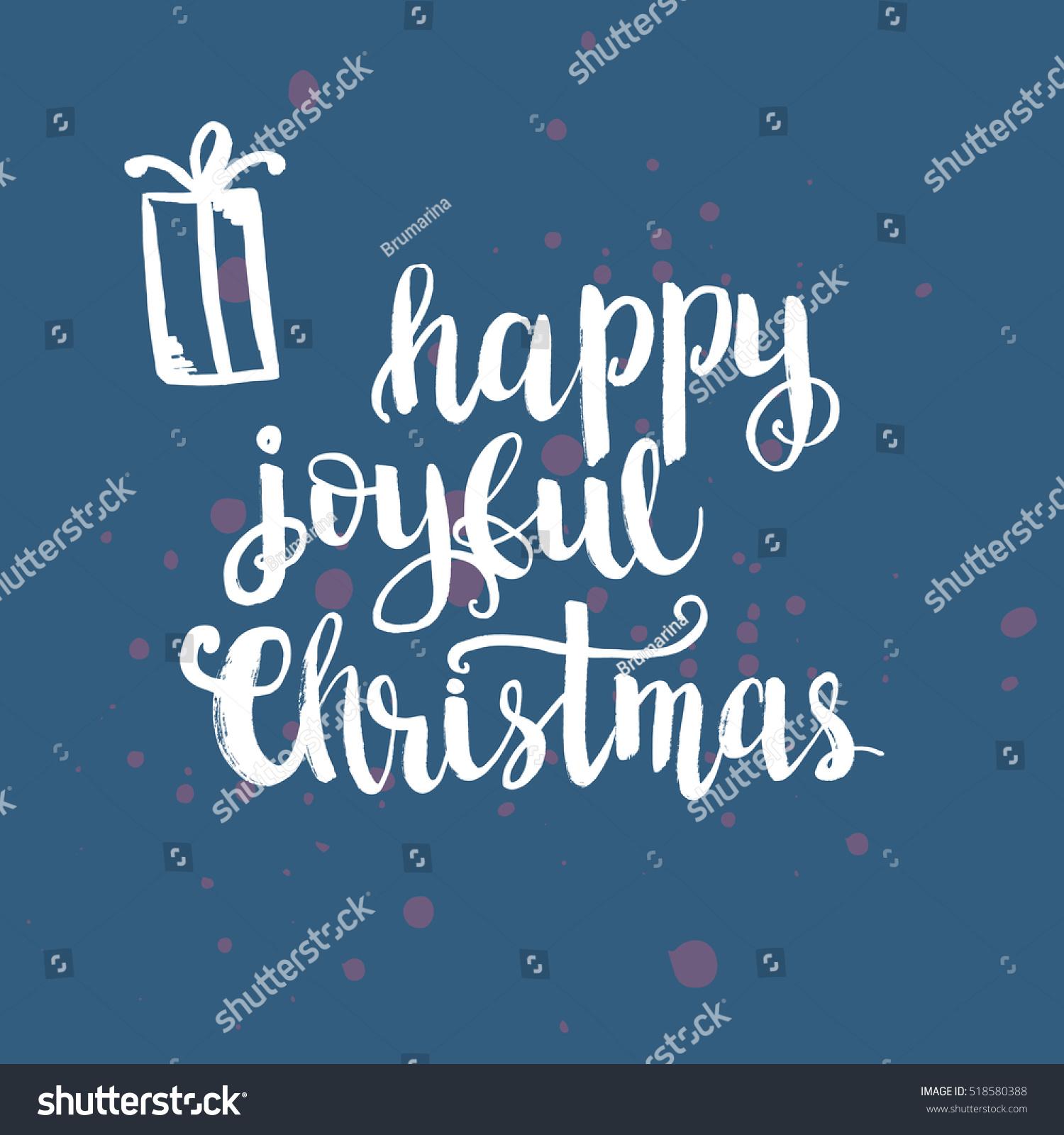 Christmas card template. Hand drawn lettering Happy joyful Christmas ...