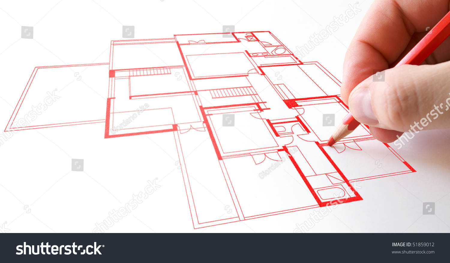 House Plan Drawing With Red Pencil On Paper Stock Photo    House plan drawing   red pencil on paper Preview  Save to a lightbox