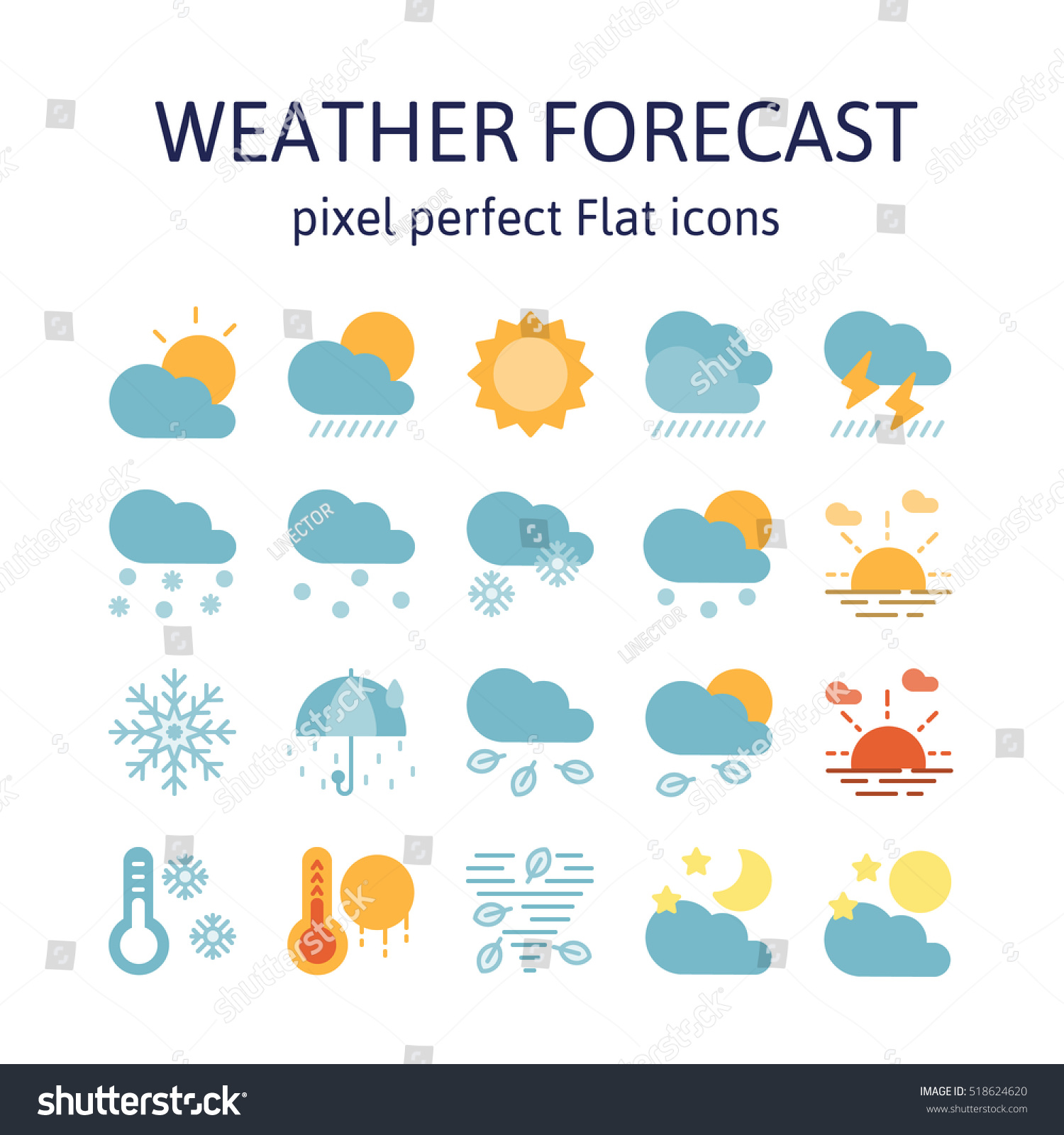 Weather Forecast Flat Icons Pictogram Symbol Stock Vector 518624620