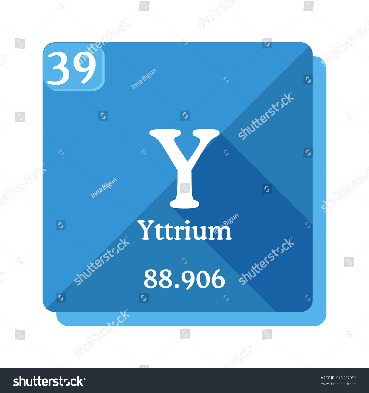 Yttrium y element periodic table flat stock vector 518637952 yttrium y element of the periodic table flat icon with long shadow urtaz Images