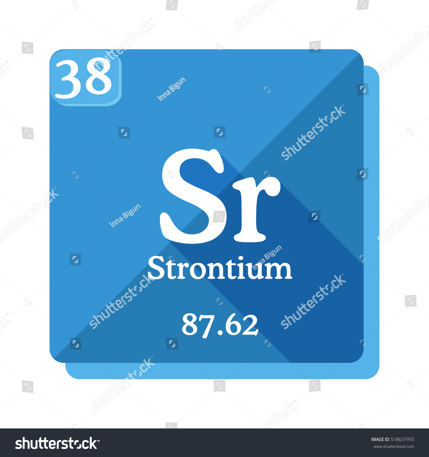 Strontium sr element periodic table flat stock vector 518637955 strontium sr element of the periodic table flat icon with long shadow biocorpaavc