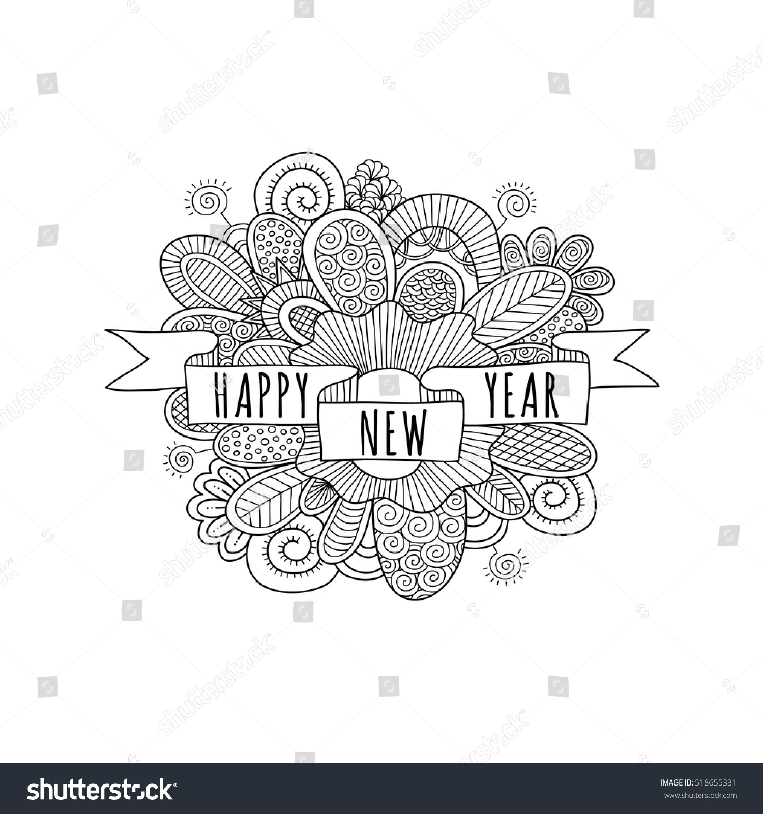 Happy New Year Ribbon Banner Words Stock Vector (Royalty Free ...