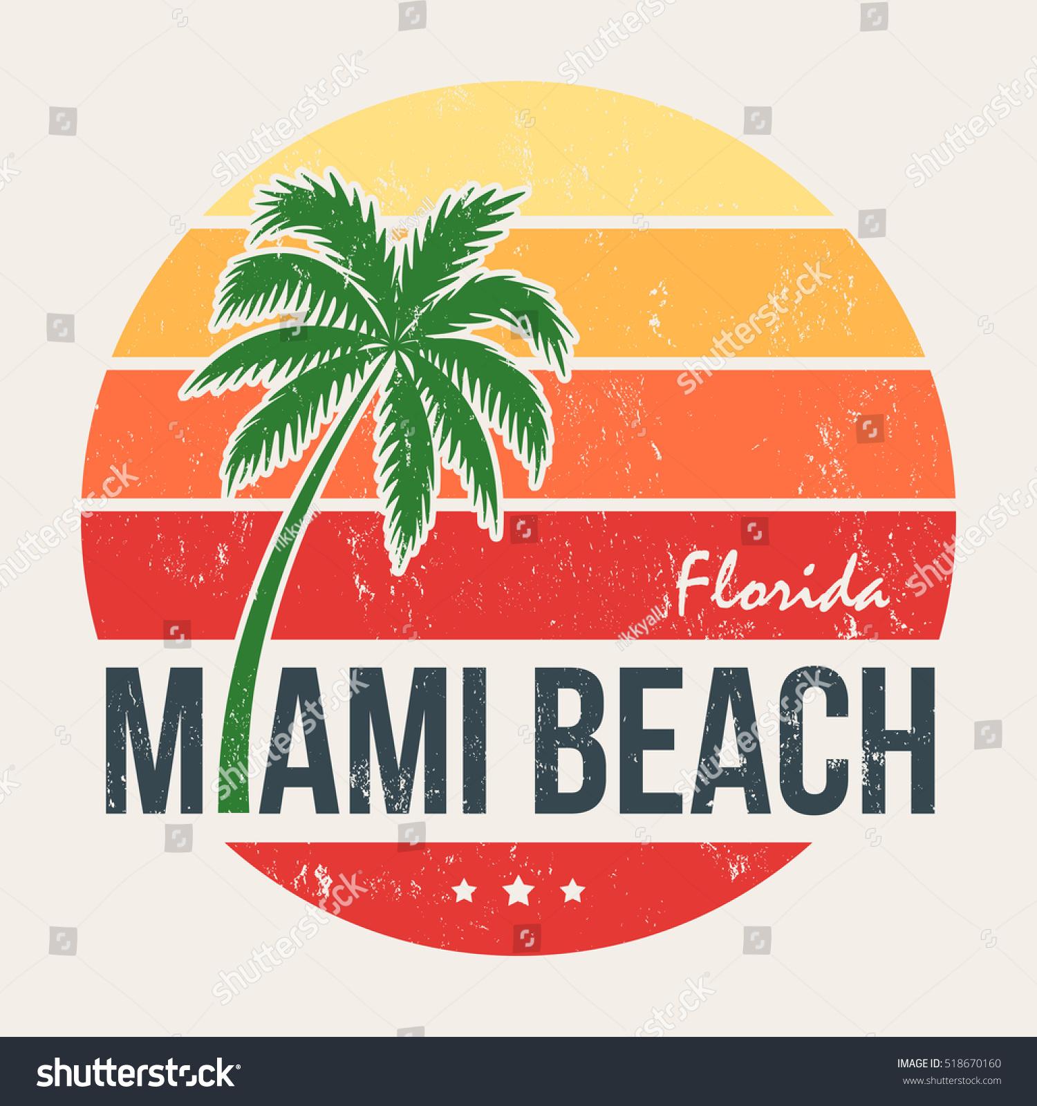 Miami beach florida tee print palm image vectorielle for T shirt printing miami fl