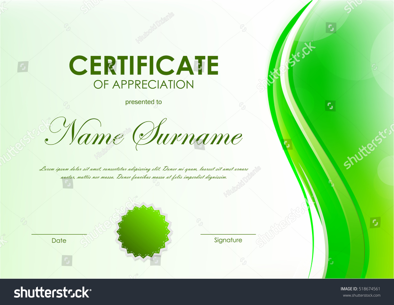 certificate appreciation template green dynamic soft stock vector