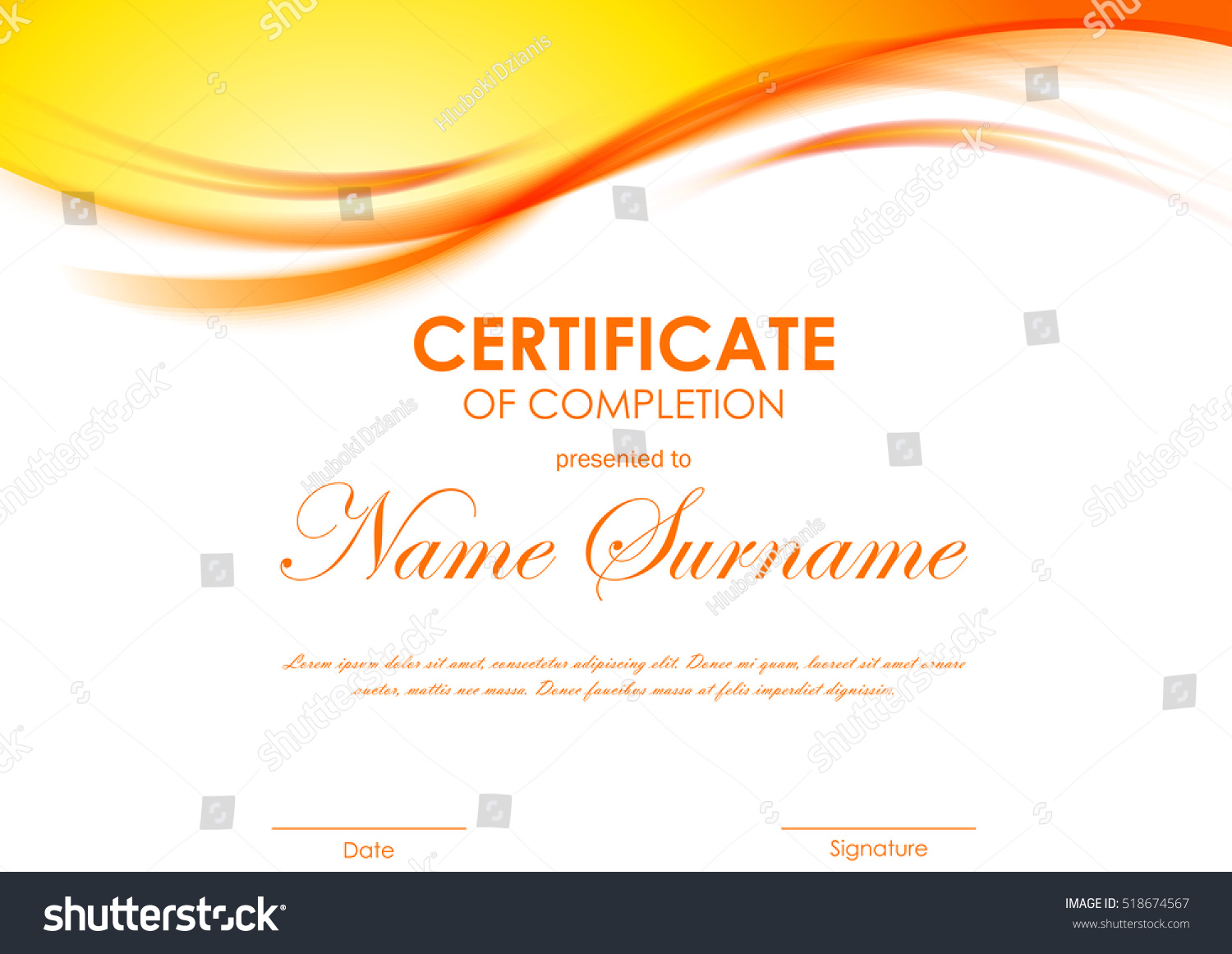Certificate Completion Template Dynamic Orange Soft Stock ...