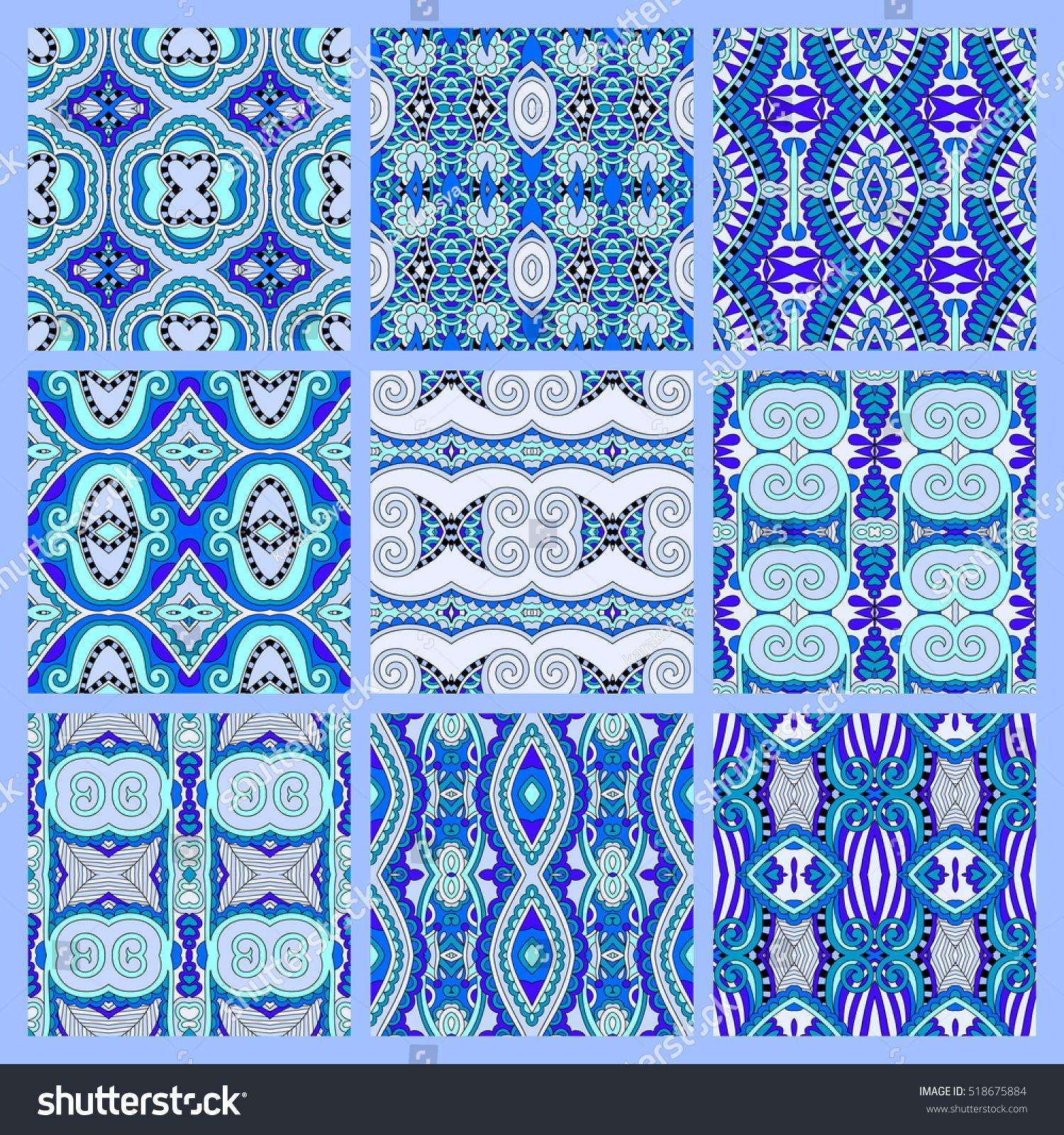 Set Blue Seamless Colored Vintage Geometric Stock Vector