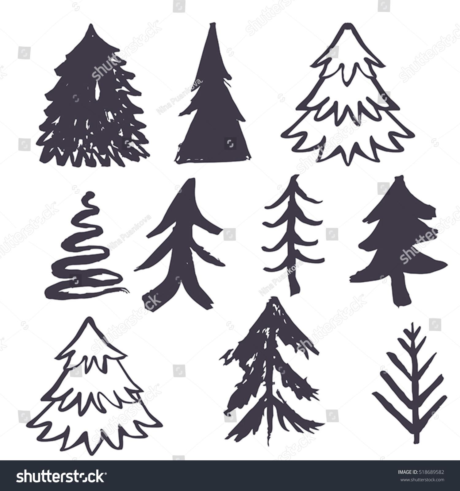 set christmas tree hand drawn illustration stock vector 518689582