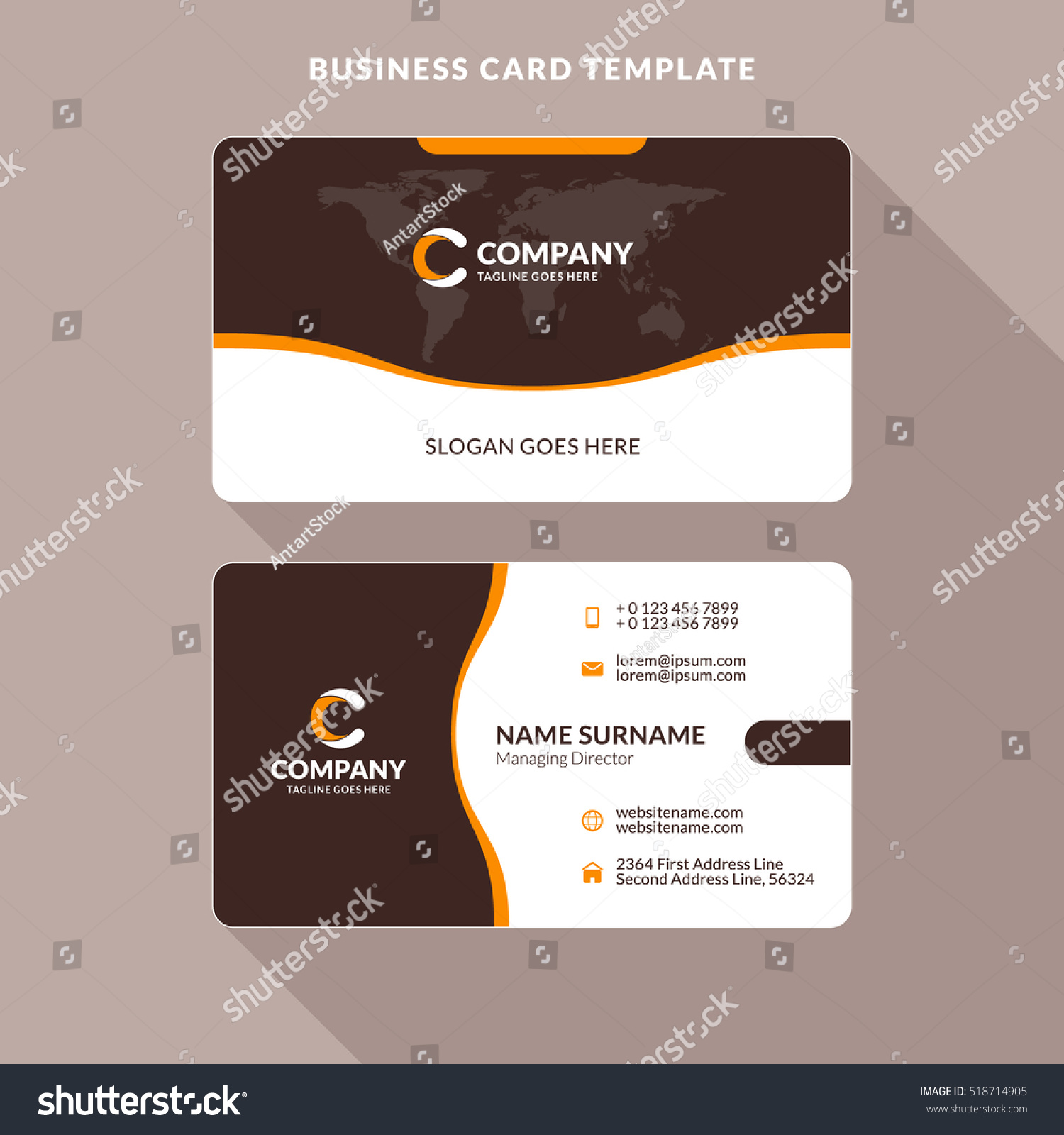 Creative clean doublesided business card template stock for Busniess card template