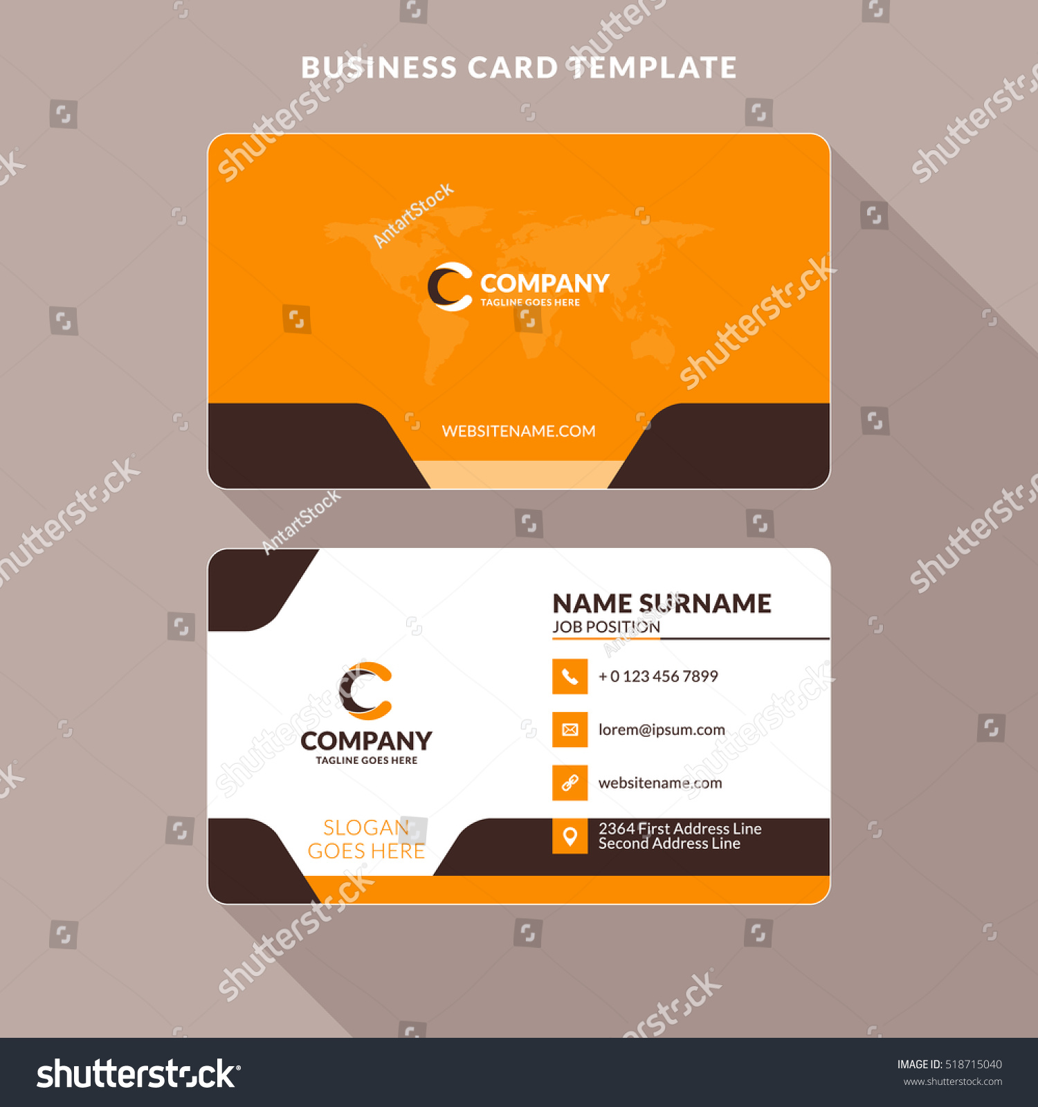 Creative Clean Doublesided Business Card Template Stock Vector ...