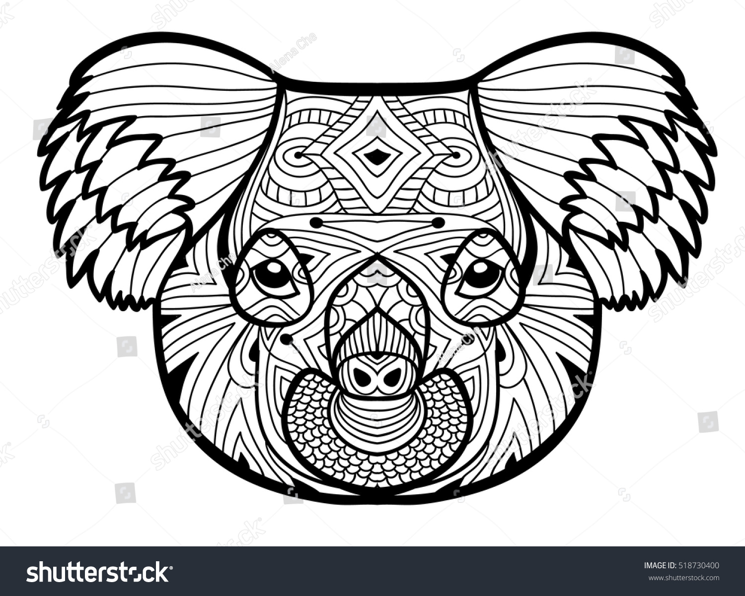 Animal Concept Line Design The Head Of A Koala Monochrome Ink