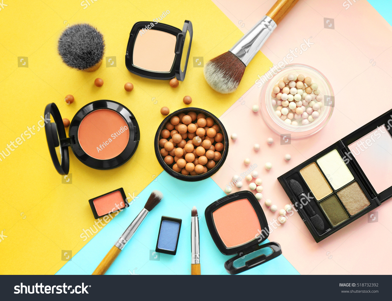 Set of decorative cosmetics on color background #518732392