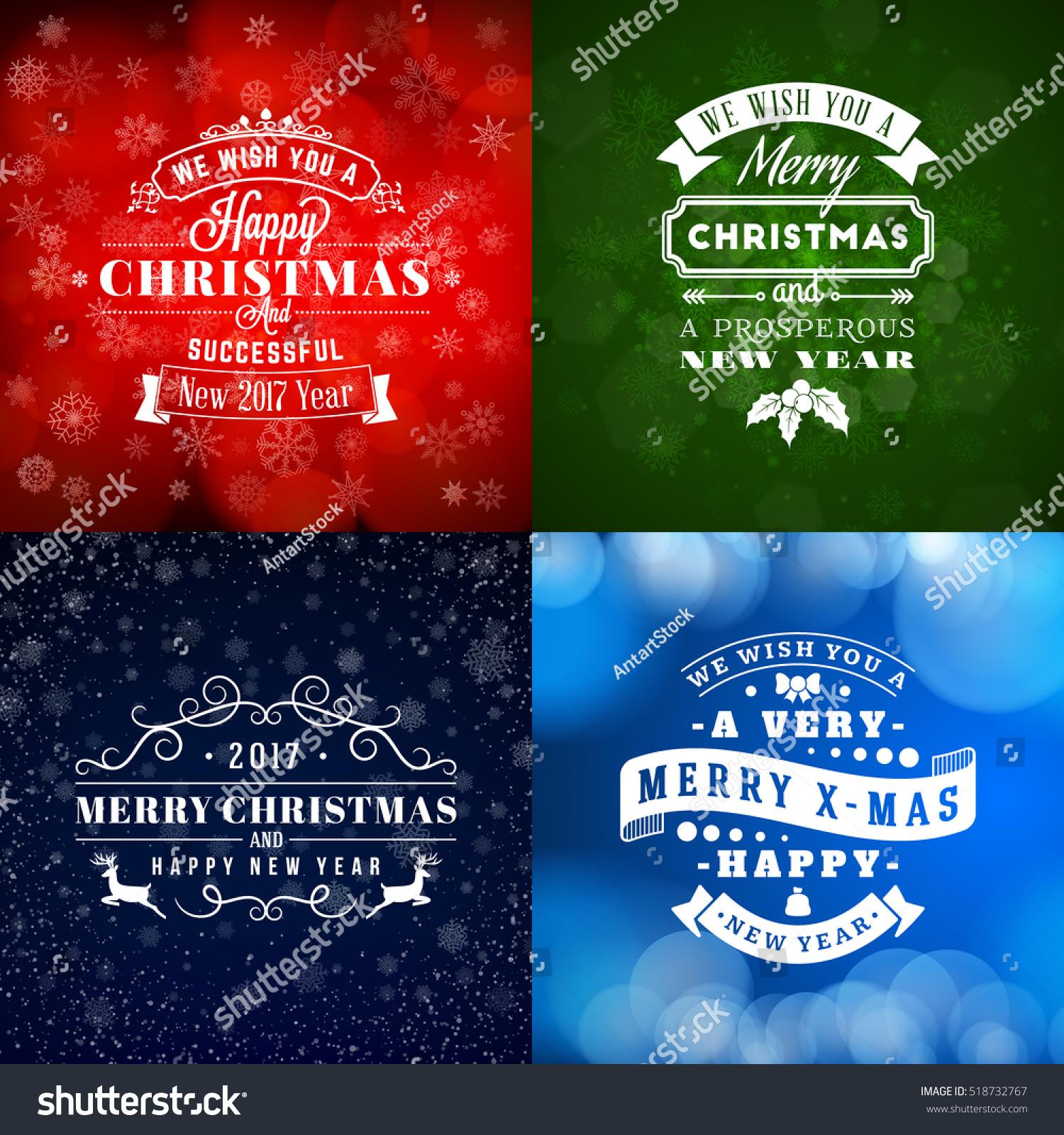 Decorative Wedding Invitation Badge 7: Set Of Merry Christmas And Happy New Year Decorative