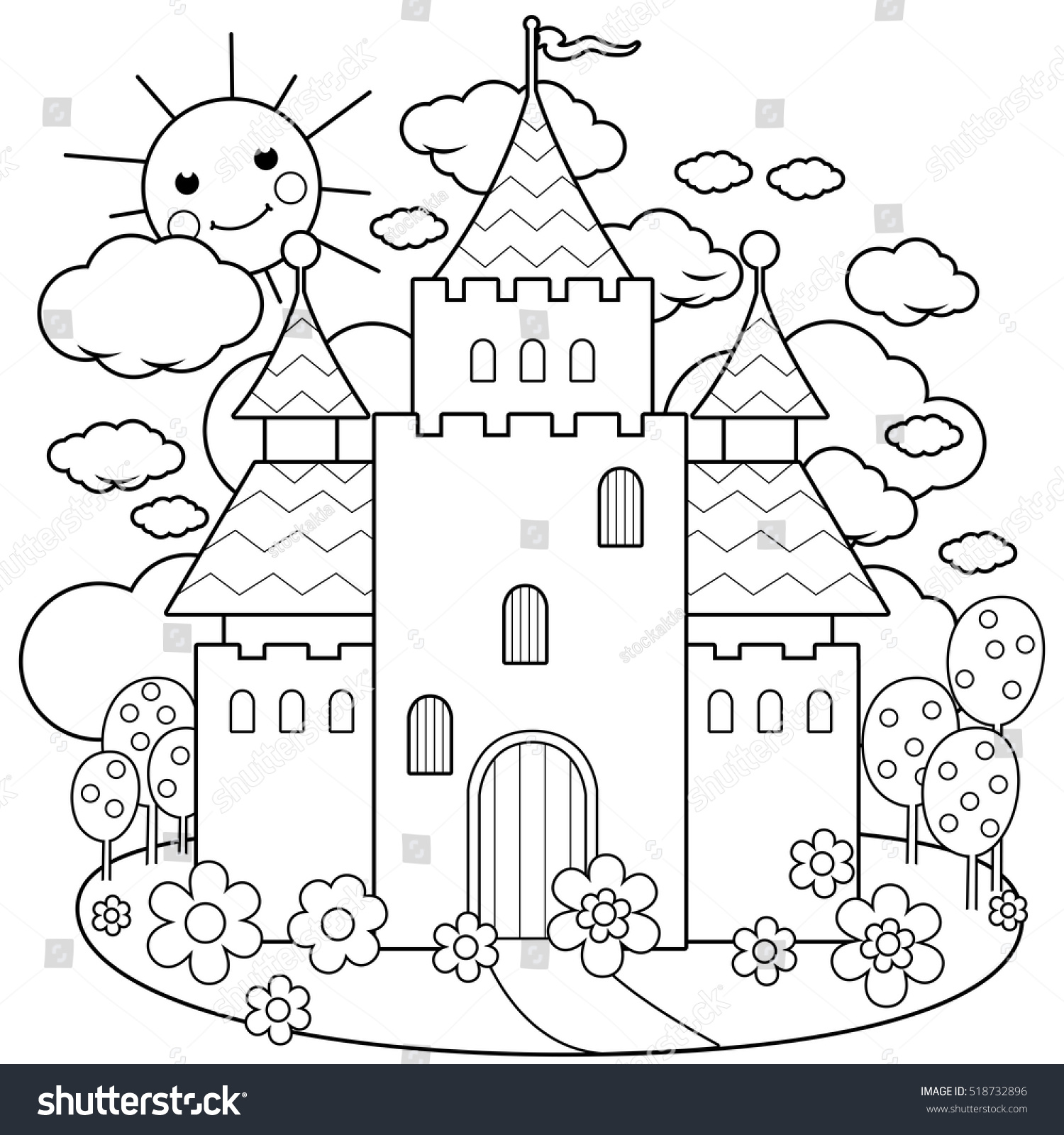 fairy tale castle flowers coloring page stock vector 518732896