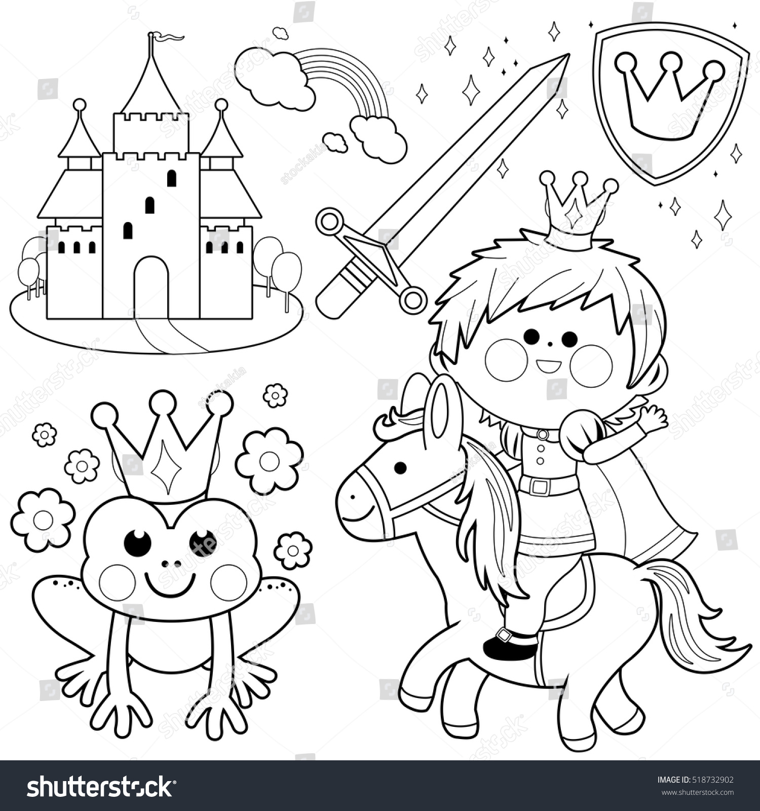 handsome prince riding horse frog castle stock vector 518732902