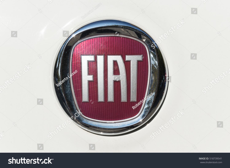 Turin Italy October 4 2016 Fiat Logo On A Metallic White 500