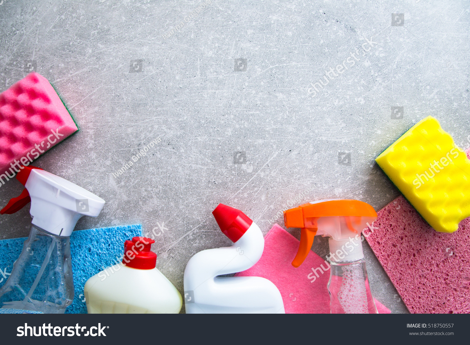 Cleaning Products On Stone Background Copyspace Stock Foto