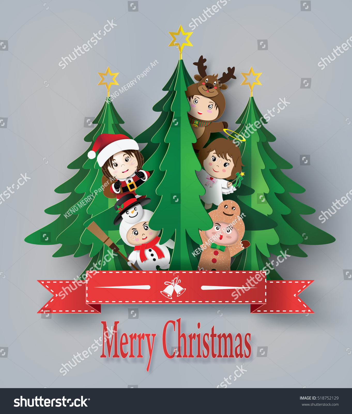 Merry Christmas Greeting Card Children Wearing Stock Vector Royalty