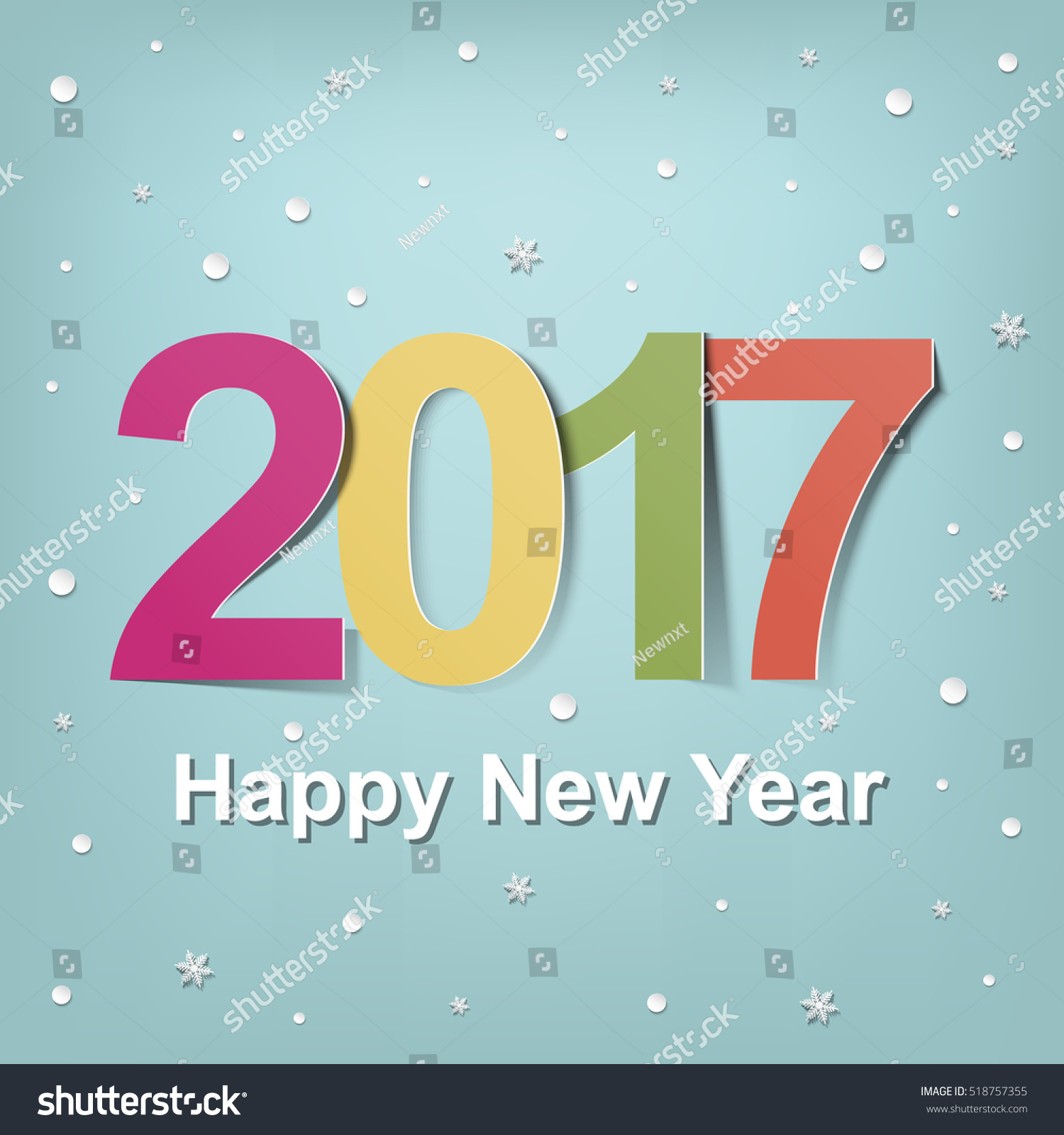 Calendar Typography Vector : Happy new year calendar design stock vector