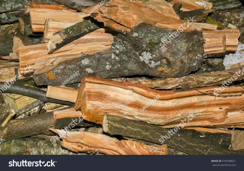 Axe wood splitter firewood birch stump stock photo