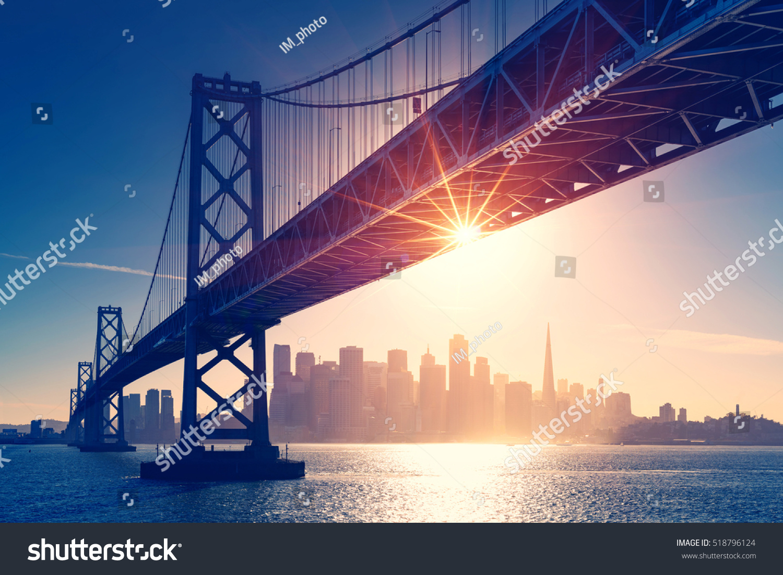 San Francisco Skyline Retro View America Stock Photo 518796124 ...