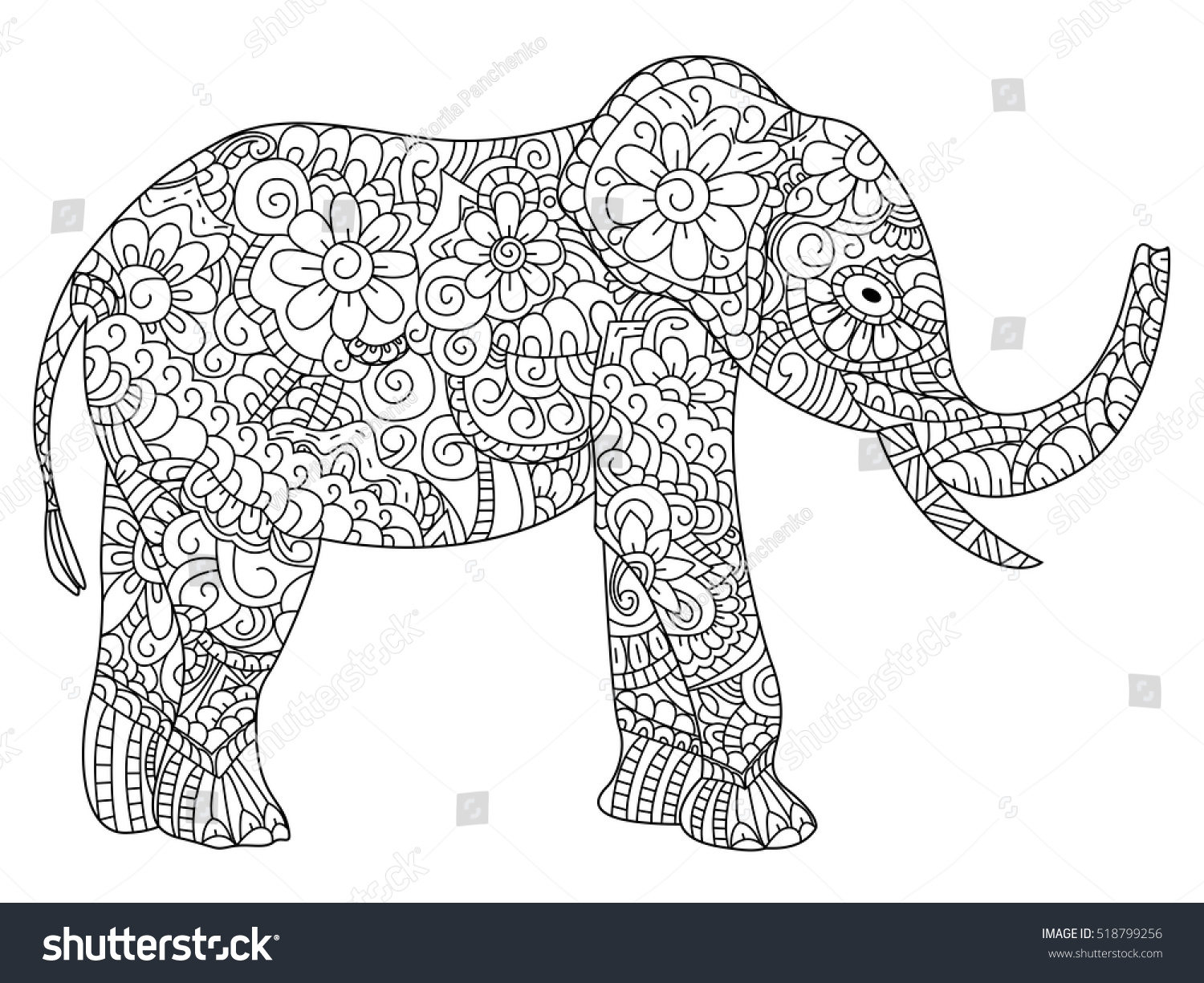 Elephant Animal Coloring Book For Adults Vector Illustration Anti Stress Adult