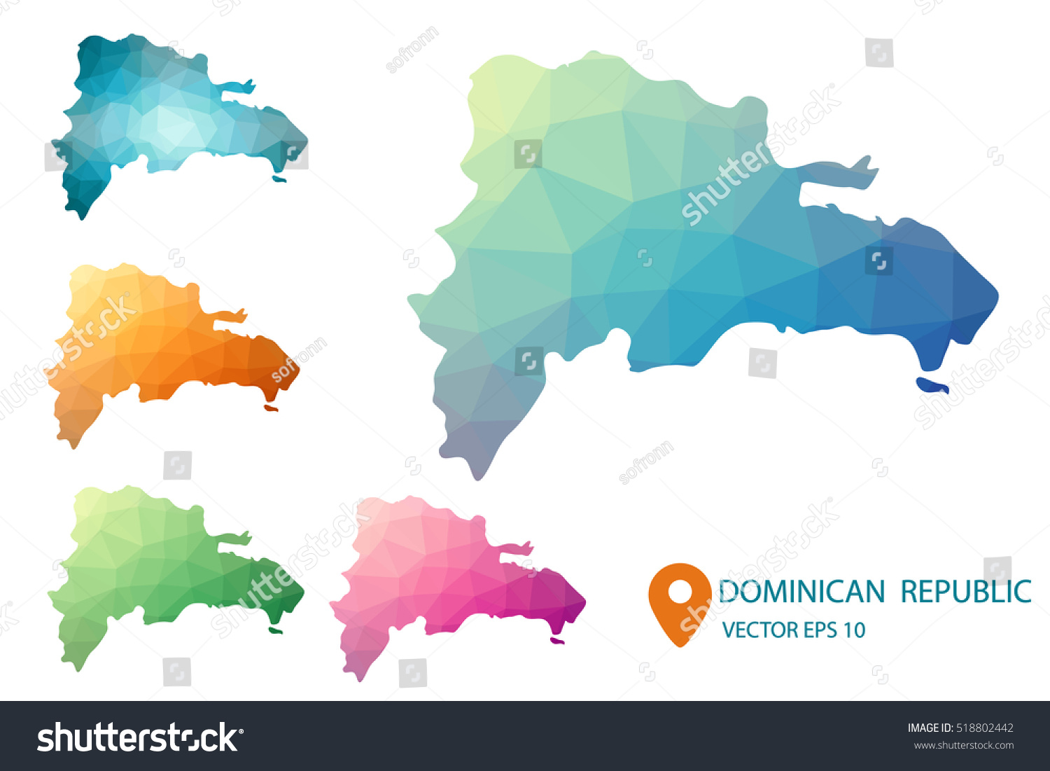 Set Vector Dominican Republic Maps Bright Stock Photo (Photo, Vector ...