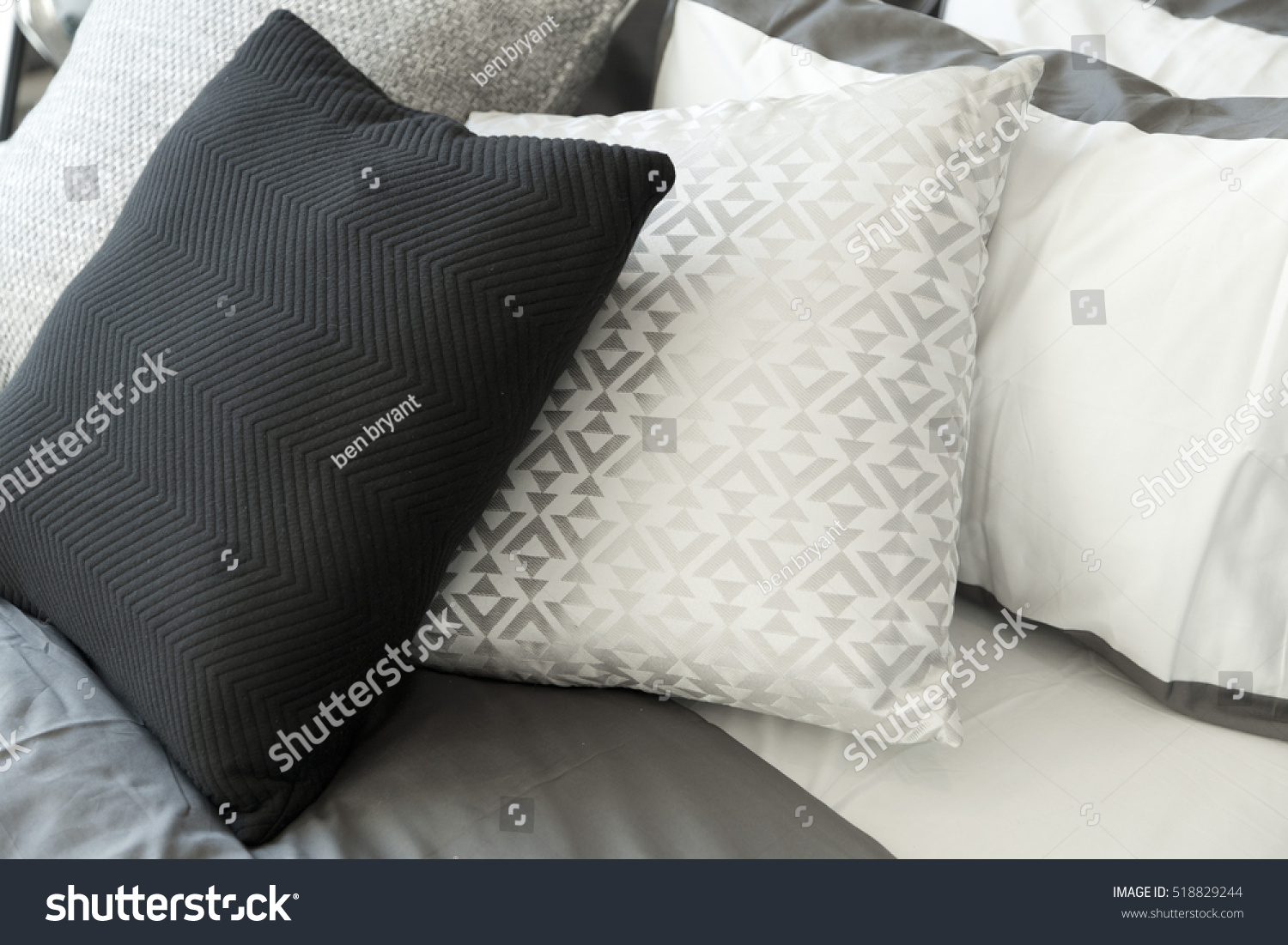 Black Throw Pillows For Bed : black pillows for bed black and white pillows on bed stock photo 518829244
