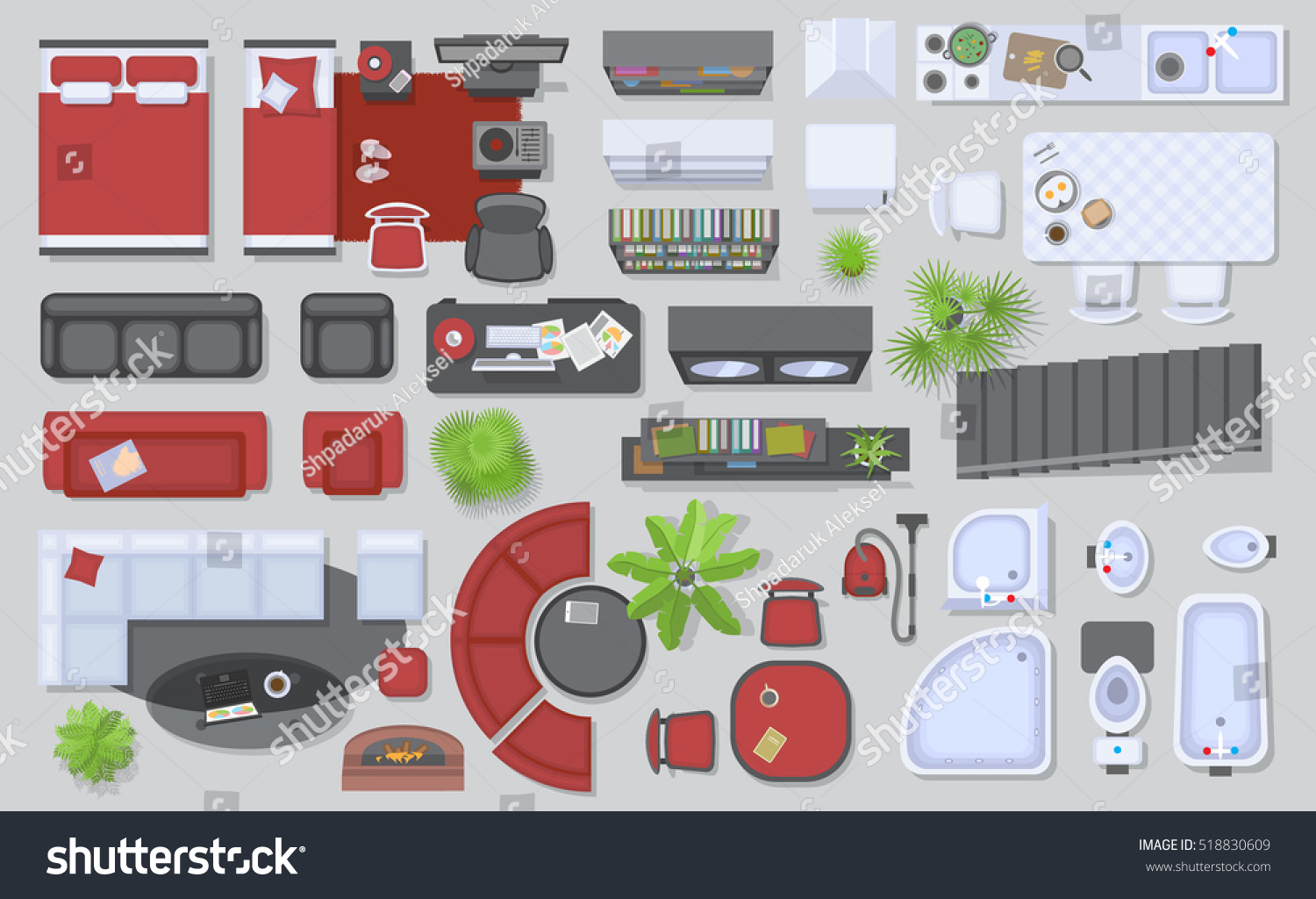 Icons Set Interior Top View Isolated Stock Vector Royalty Free