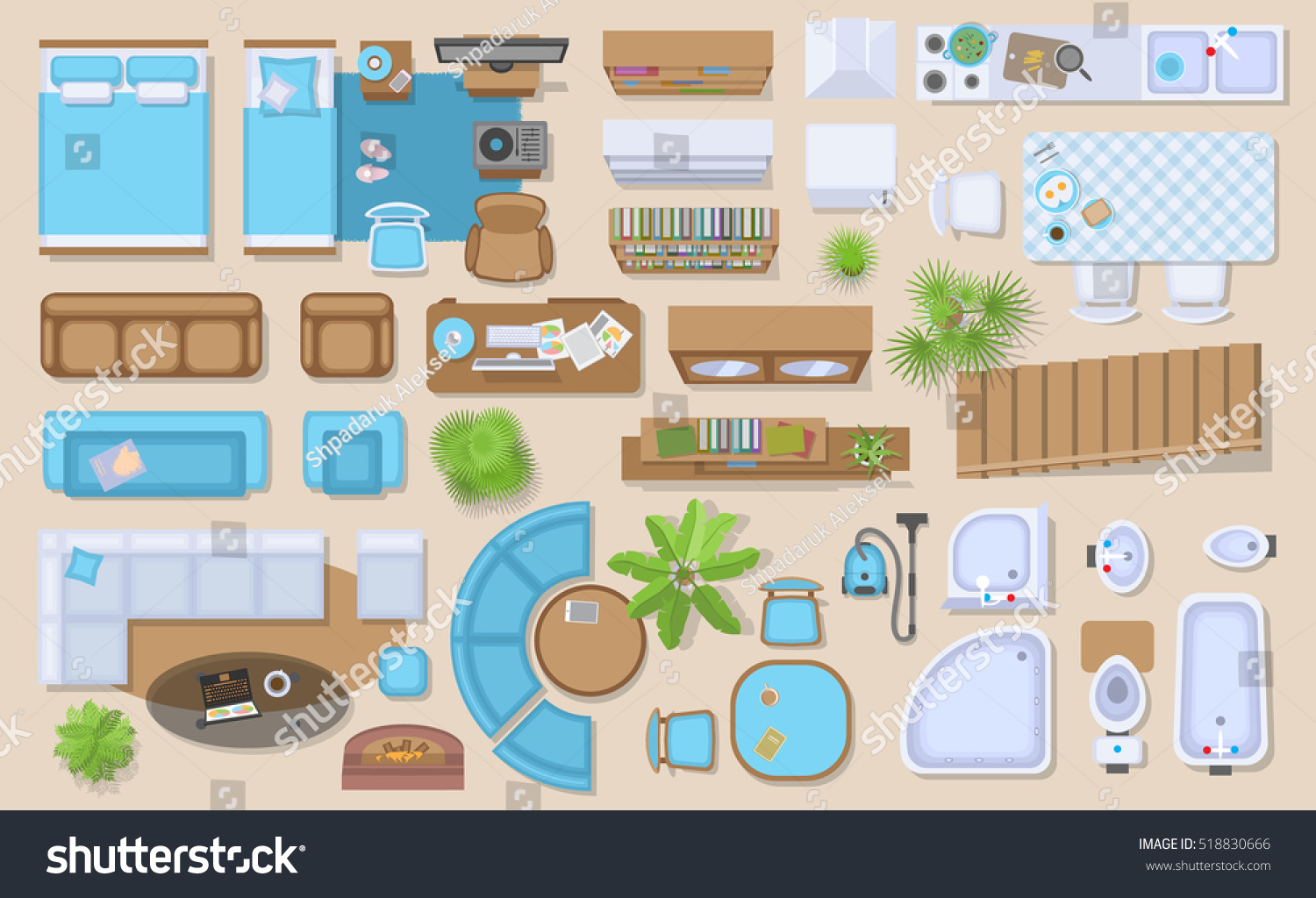 Royalty free icons set of interior top view 518830666 for Floor plan furniture store