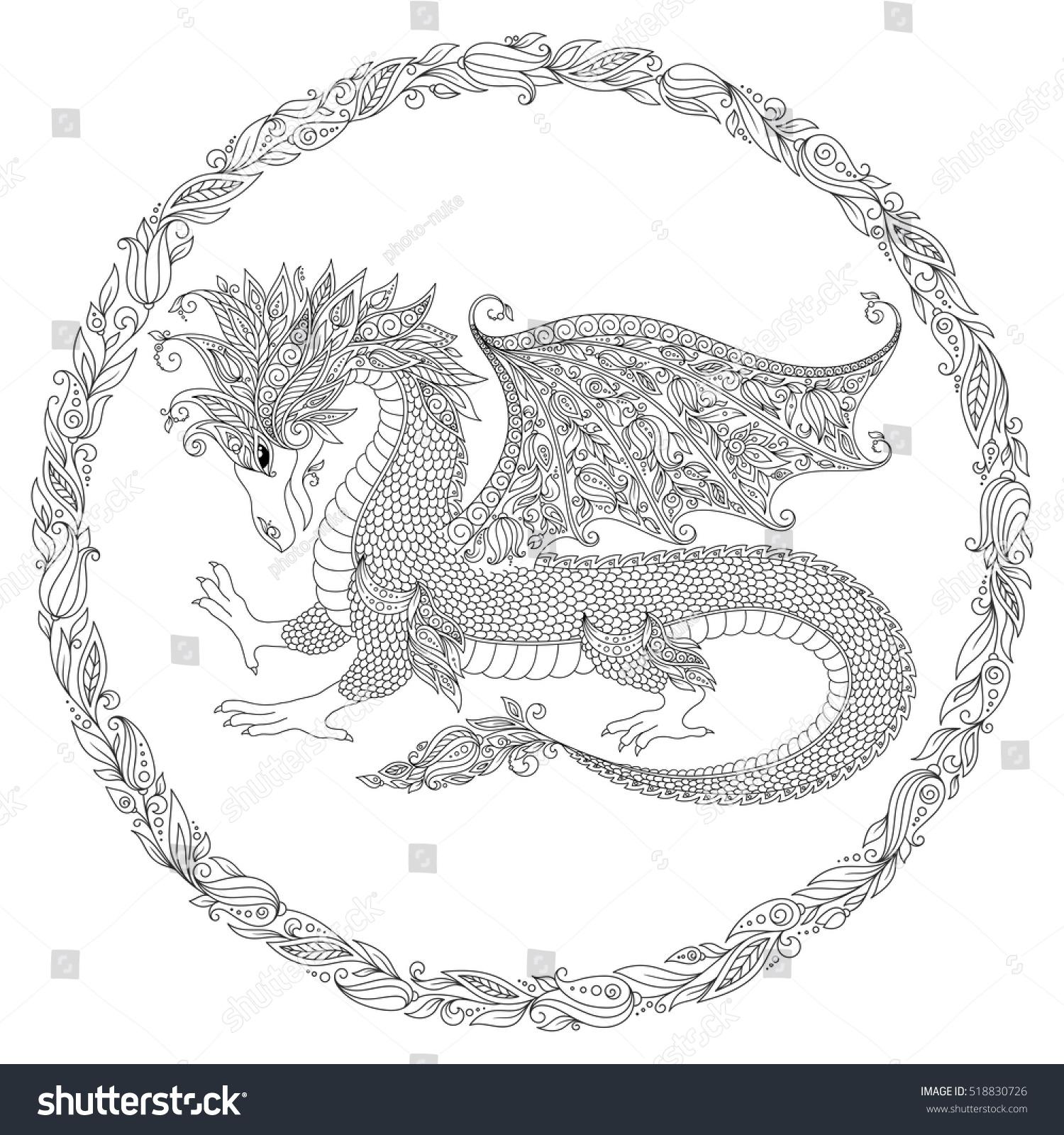 Vector Cartoon Dragon Hand Drawn Black White Doodle Sketch Zen Tangle