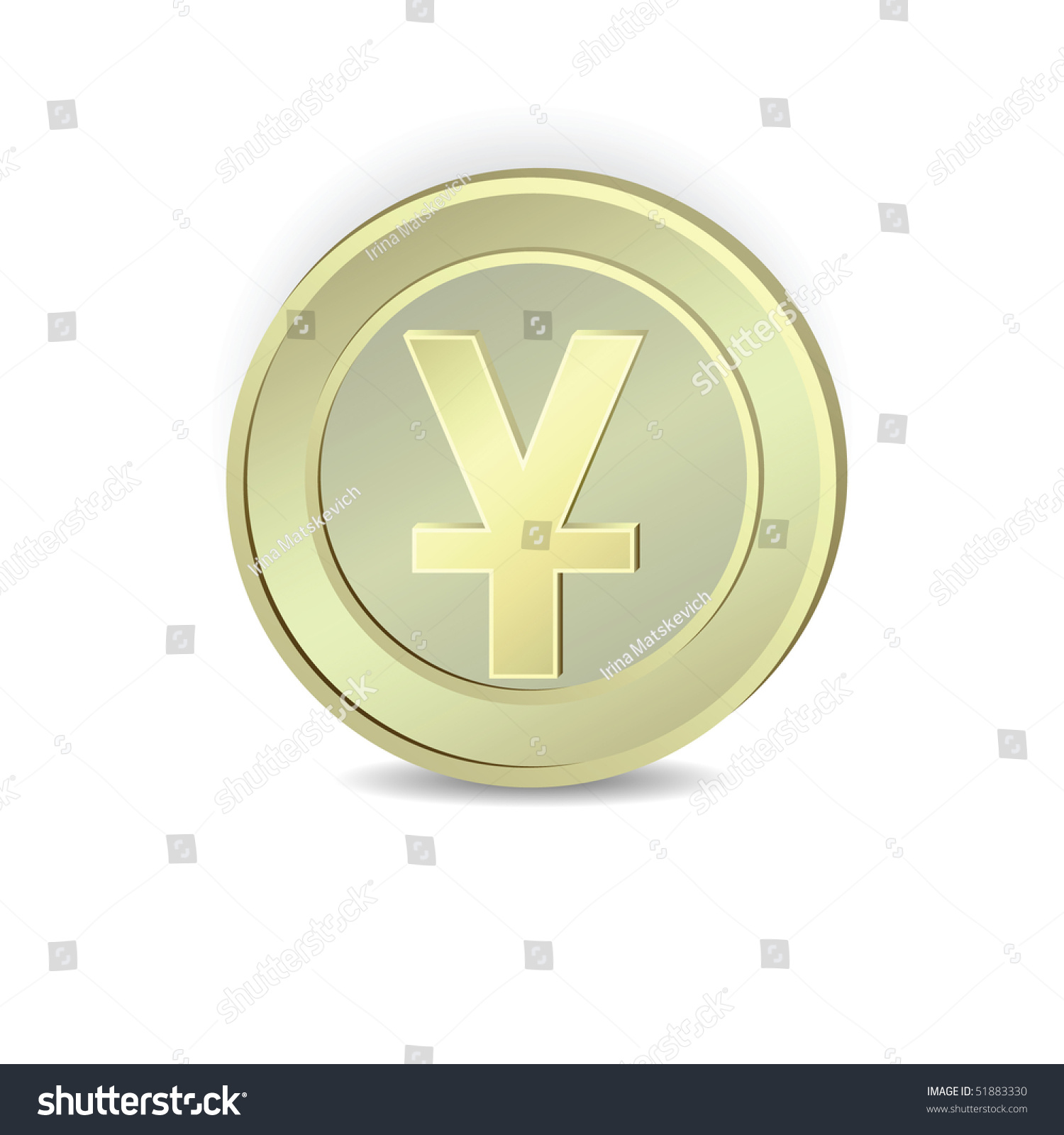 Coin Symbol Chinese Yuan Vector Stock Vector 51883330 Shutterstock