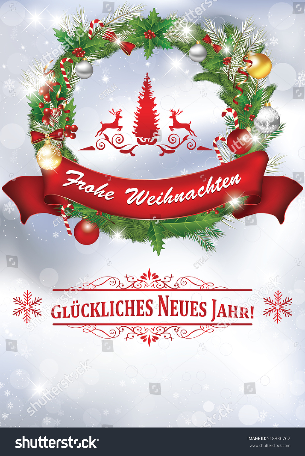 Greeting card christmas new year containing stock illustration greeting card for christmas and new year containing wishes in german language frohe weihnachten und m4hsunfo