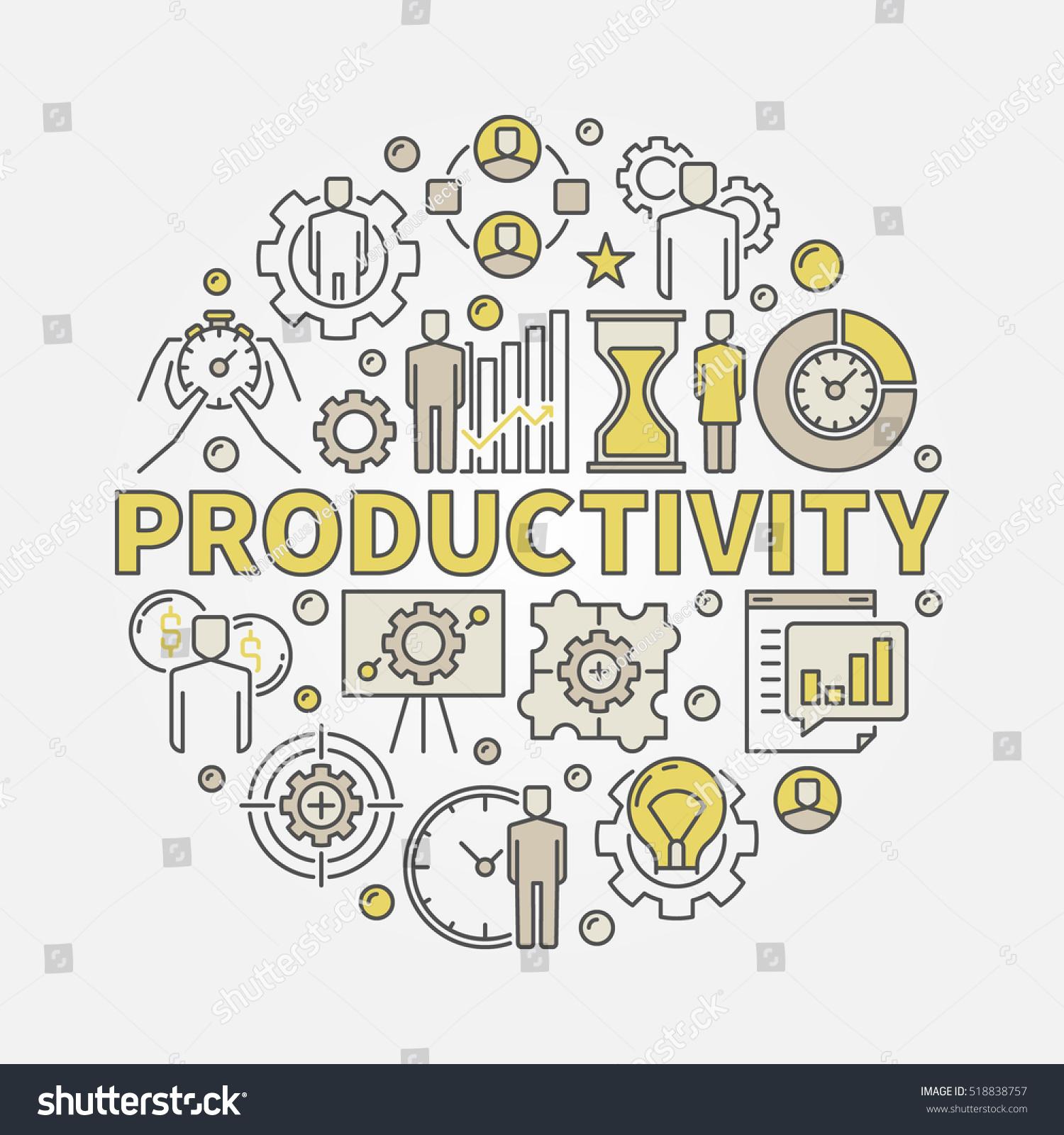Productivity round colorful illustration vector flat stock vector productivity round colorful illustration vector flat concept symbol made with word productivity and business icons buycottarizona