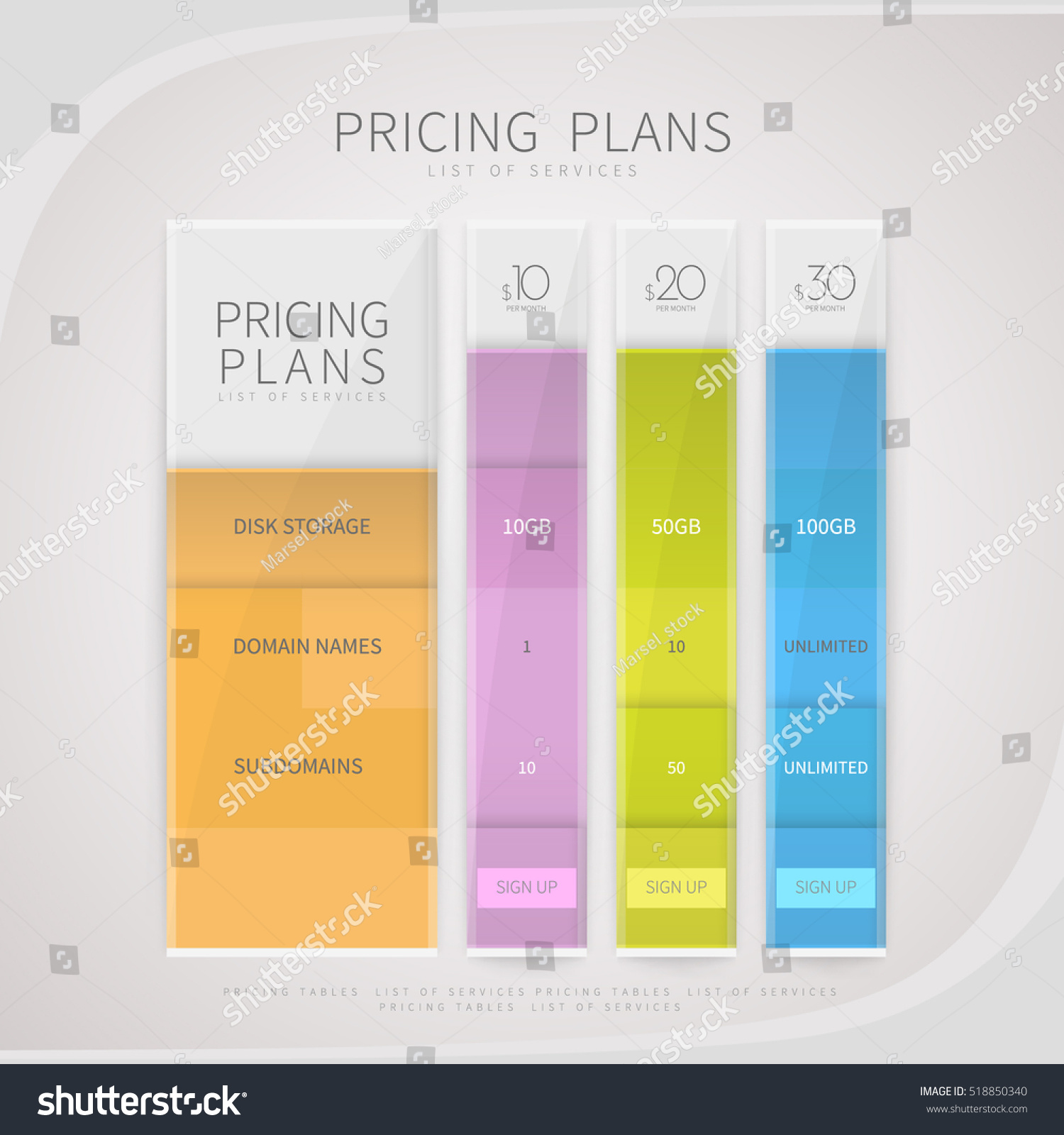 Pricing Plan: Pricing Comparison Plan Set Commercial Business Stock